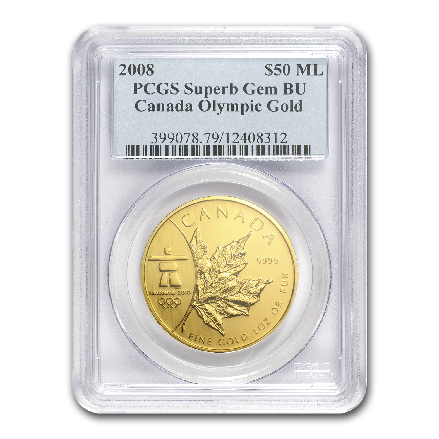 2008 Canada 1 oz Gold Maple Leaf BU PCGS (Vancouver Olympics)