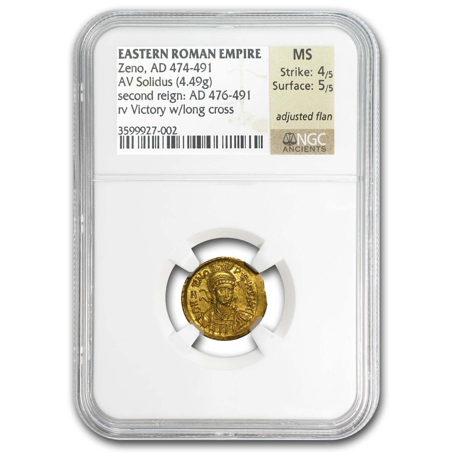 Roman Gold Solidus of Emperor Zeno MS NGC (474-491 AD)