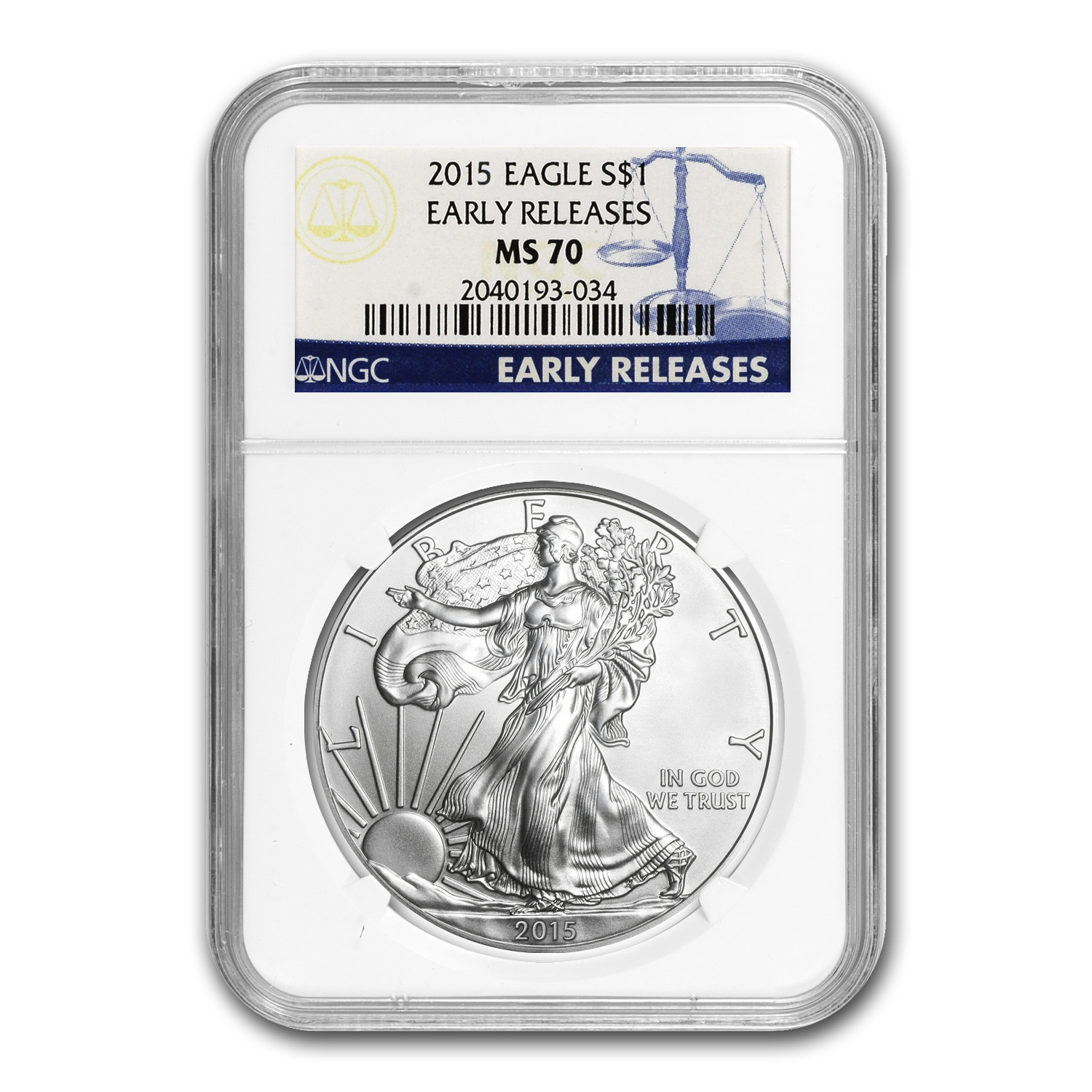 2015 Silver American Eagle MS-70 NGC (Early Releases) 1/30
