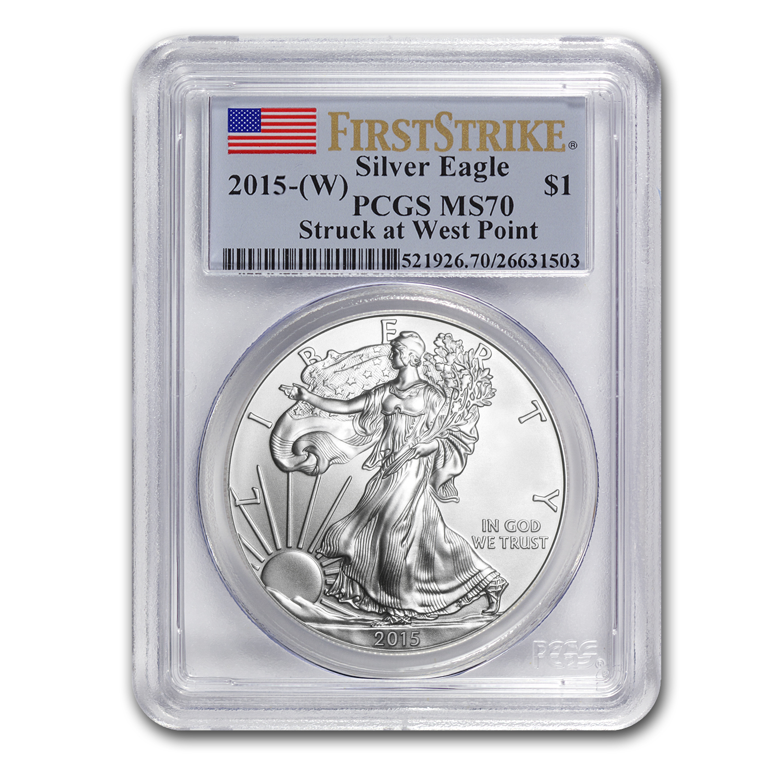 2015 (W) Silver American Eagle MS-70 PCGS (First Strike)