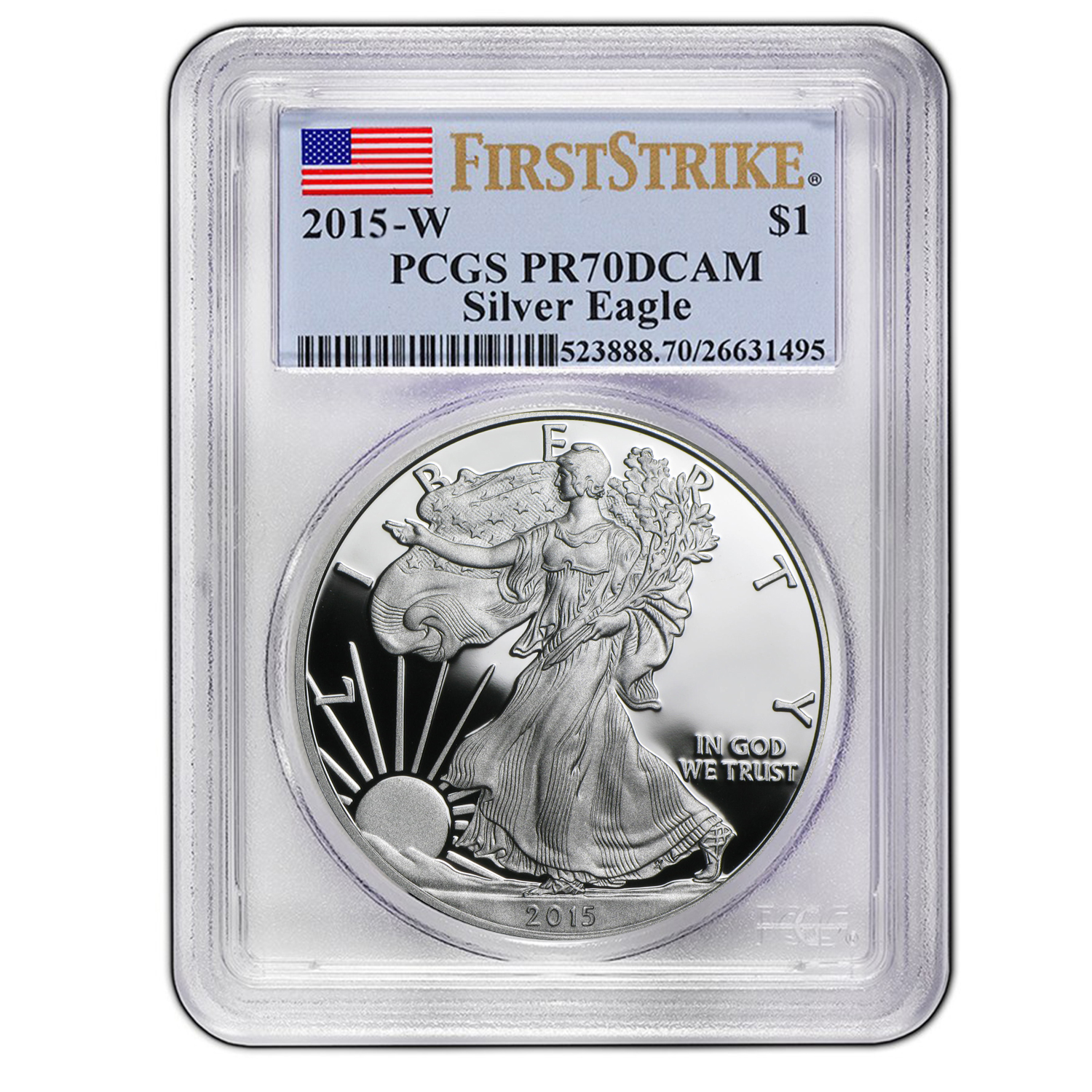 2015 W Proof Silver American Eagle Pr 70 Pcgs First
