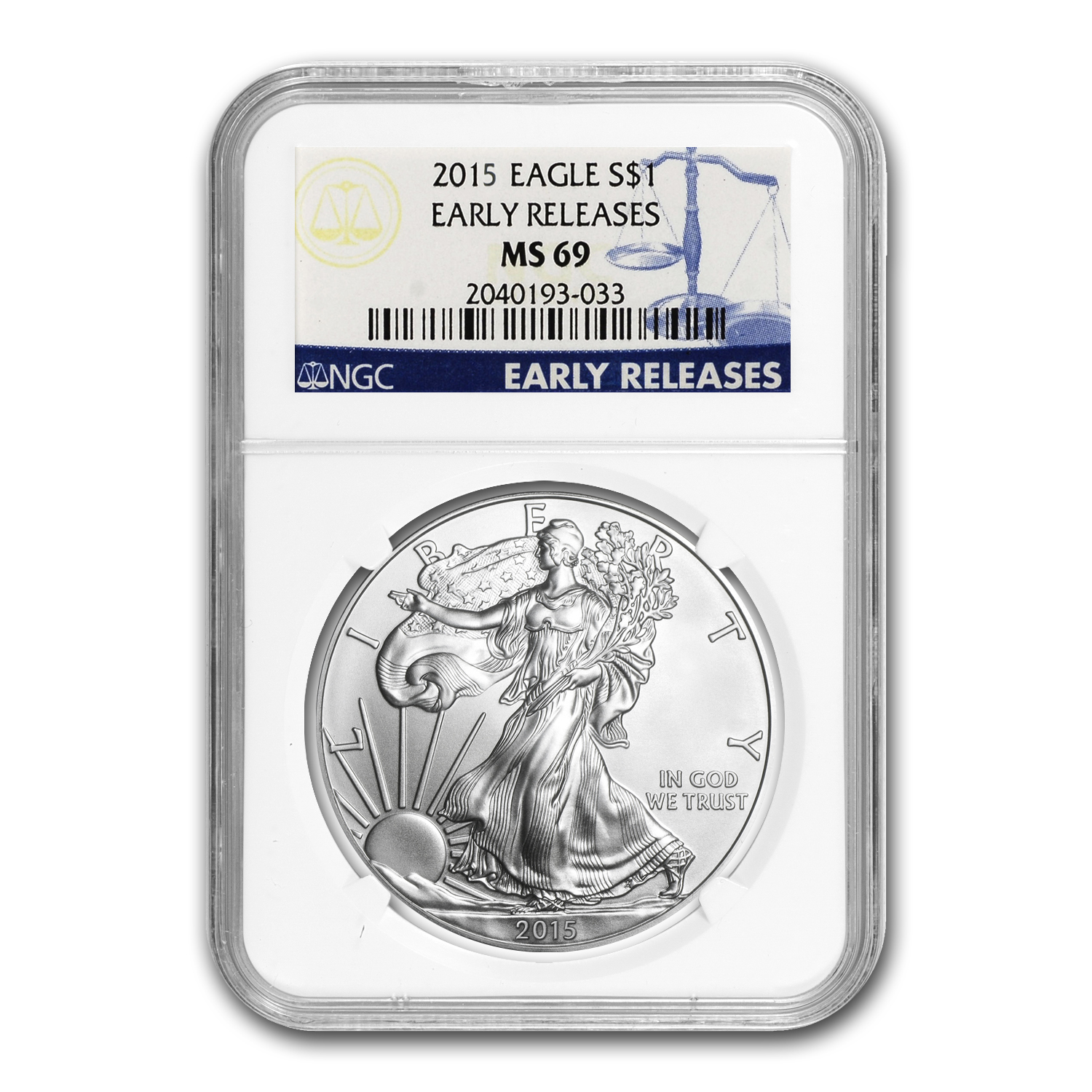 2015 Silver American Eagle MS-69 NGC (Early Releases) 1/30