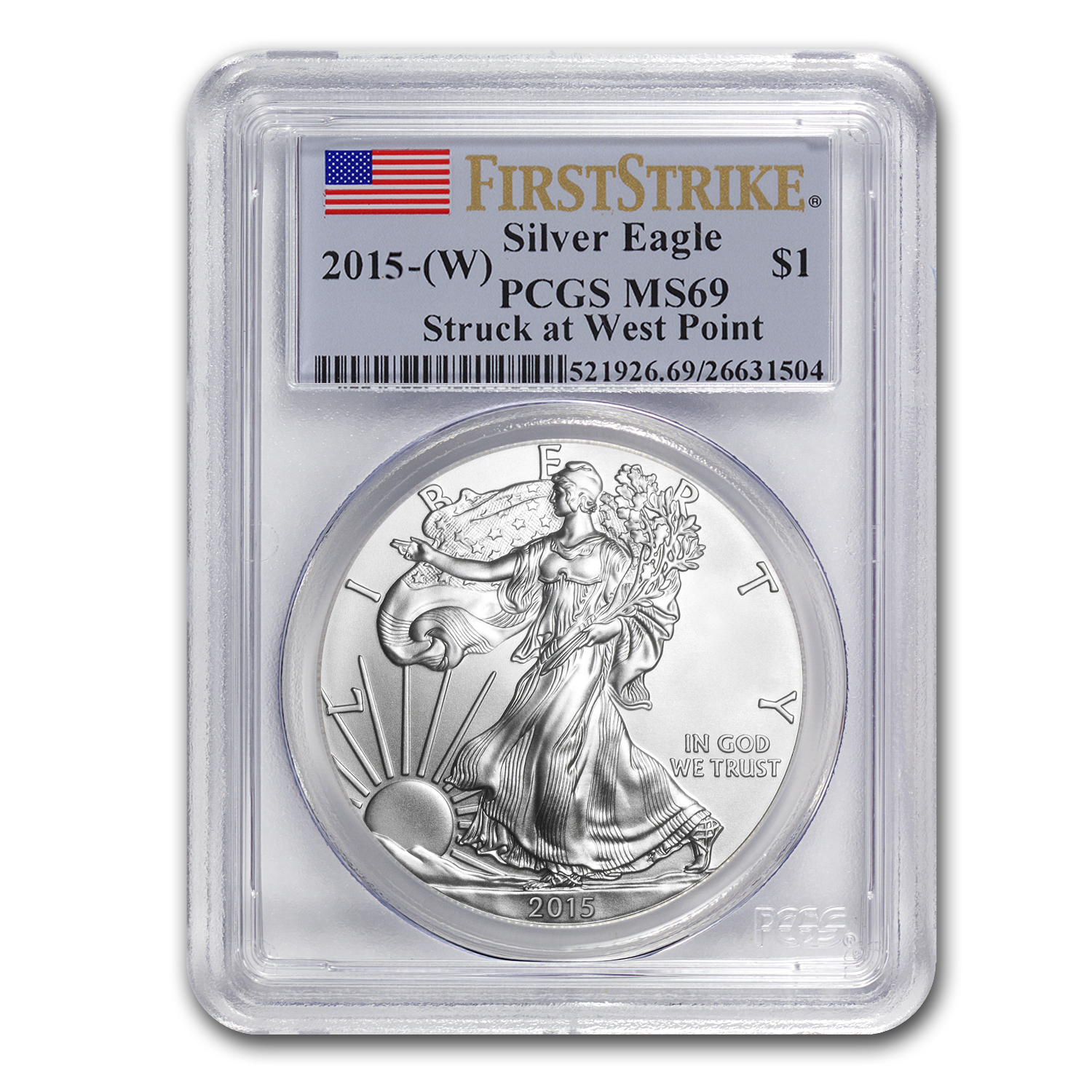 2015 (W) Silver American Eagle MS-69 PCGS (First Strike)