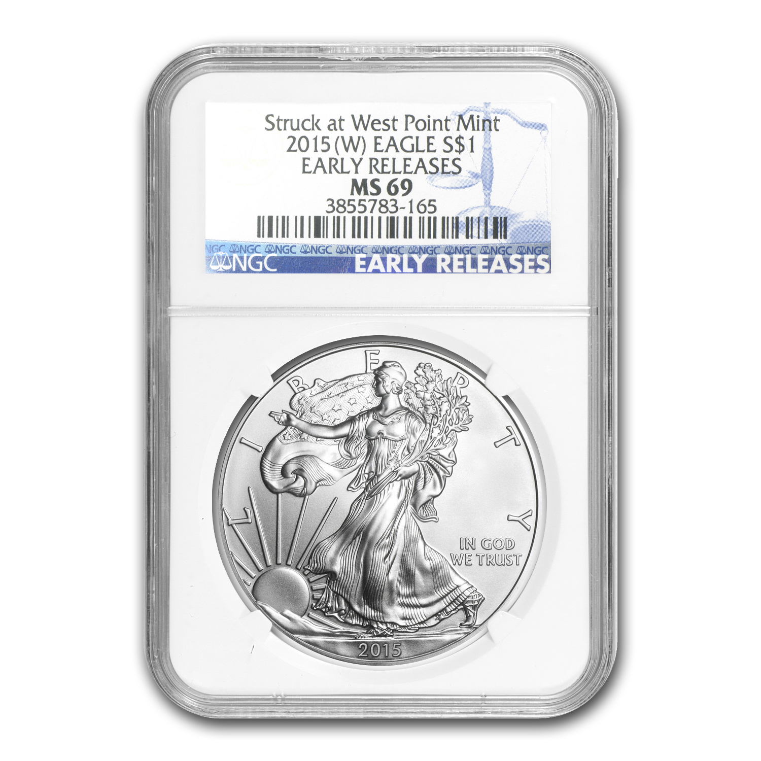 2015 (W) Silver American Eagle MS-69 NGC (Early Releases) 1/30