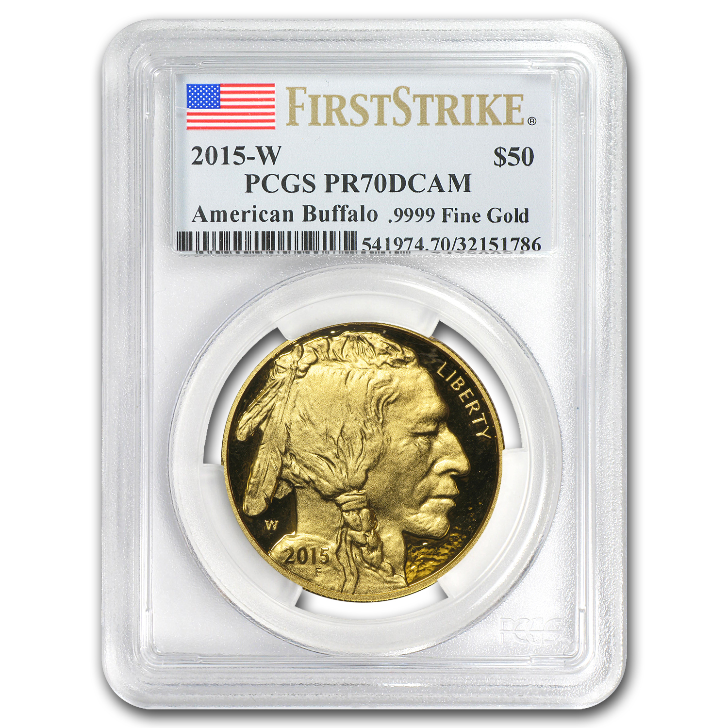 2015-W 1 oz Proof Gold Buffalo PR-70 PCGS (First Strike)