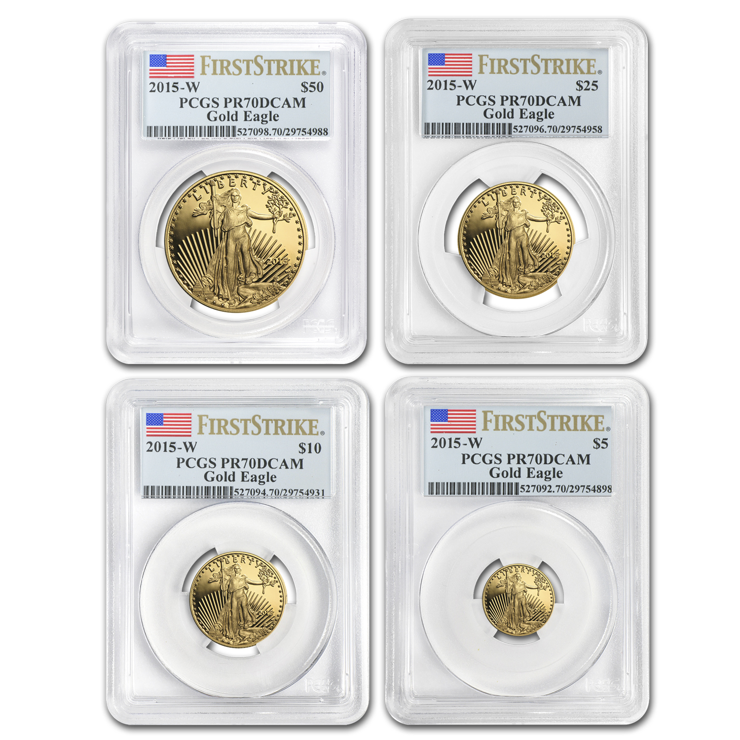 2015-W 4-Coin Proof Gold Eagle Set PR-70 PCGS (FS)