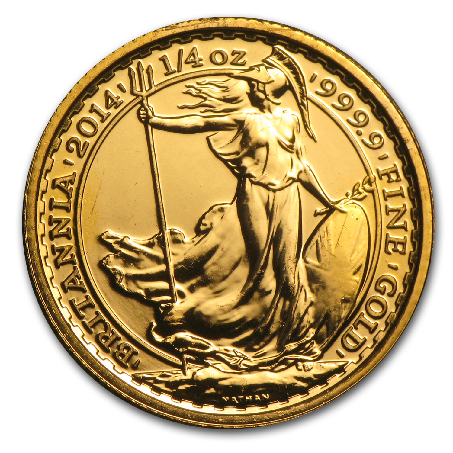 Great Britain 1/4 oz Gold Britannia BU/Prf (Random Yr, Abrasions)