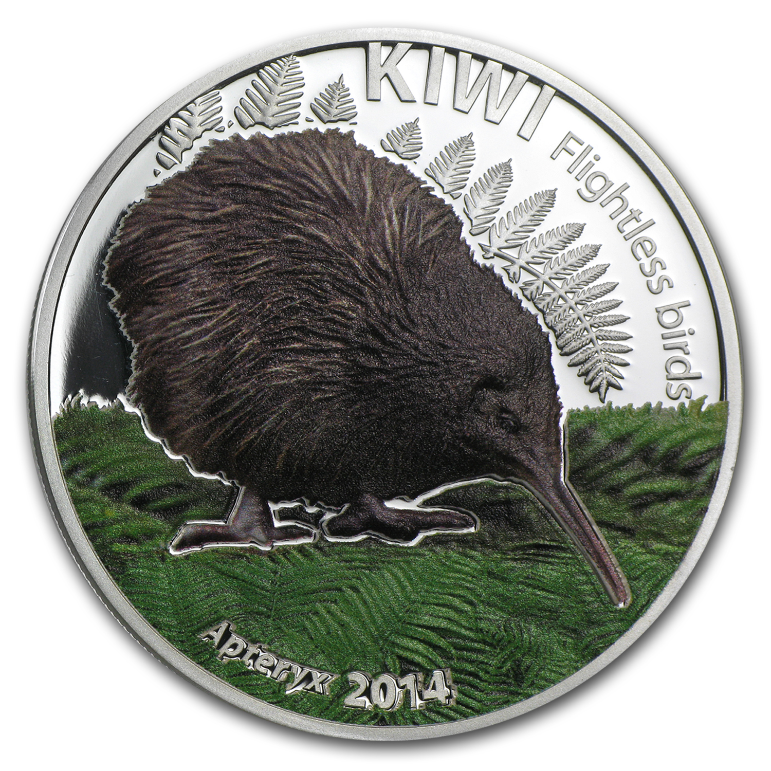 2014 Cook Islands Silver $5 Flightless Bird Kiwi (Colorized)