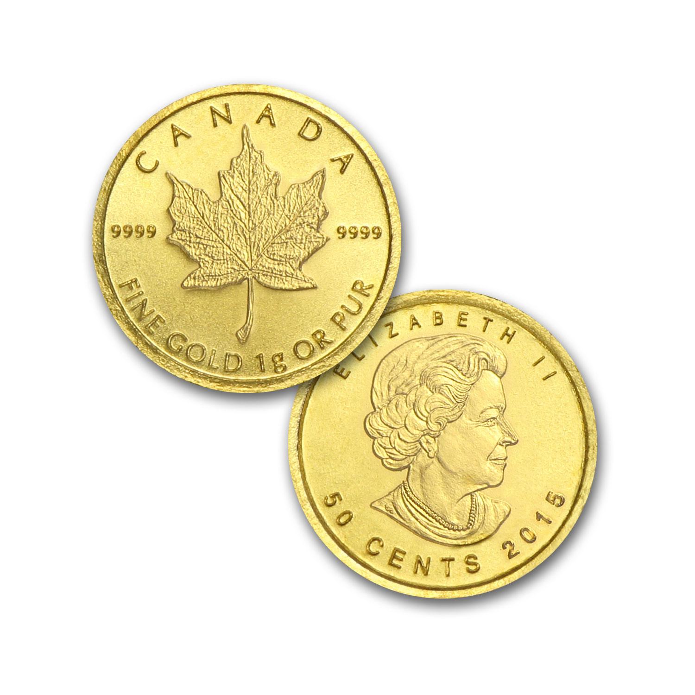 2015 25 X 1 Gram Gold Maple Leafs Maplegram25 Rcm