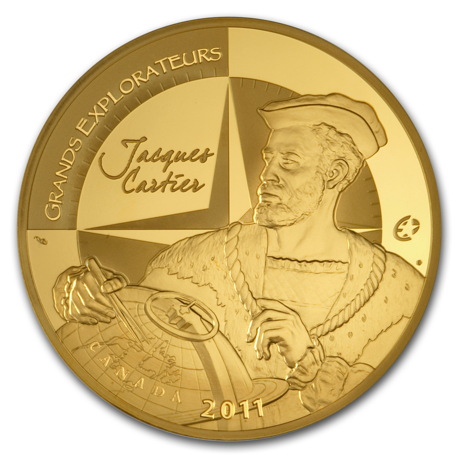 2011 5 oz Proof Gold €500 Great Explorers Jacques Cartier (12-30)