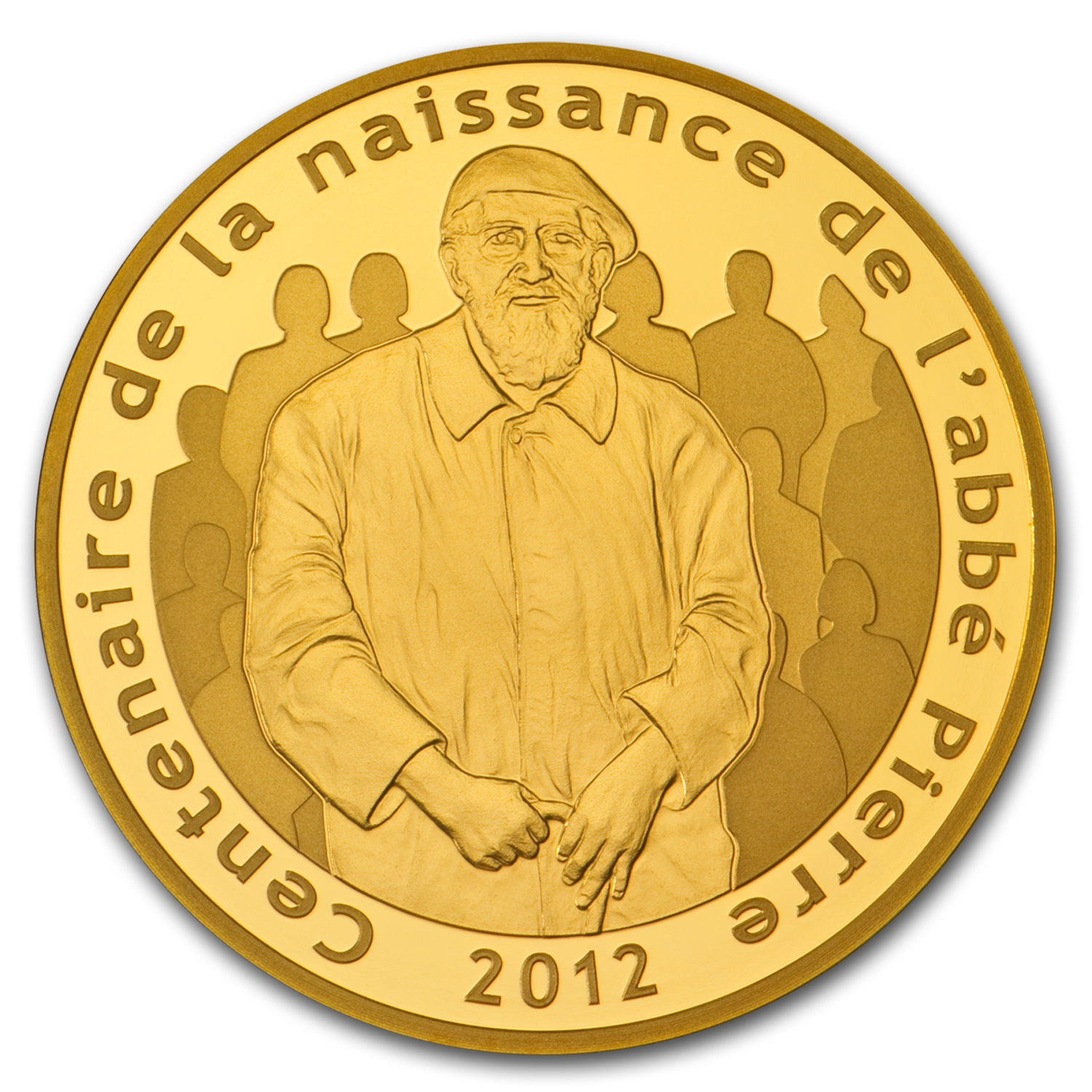 2012 5 oz Proof Gold €500 Abbé Pierre 100th Anniversary (2-17)