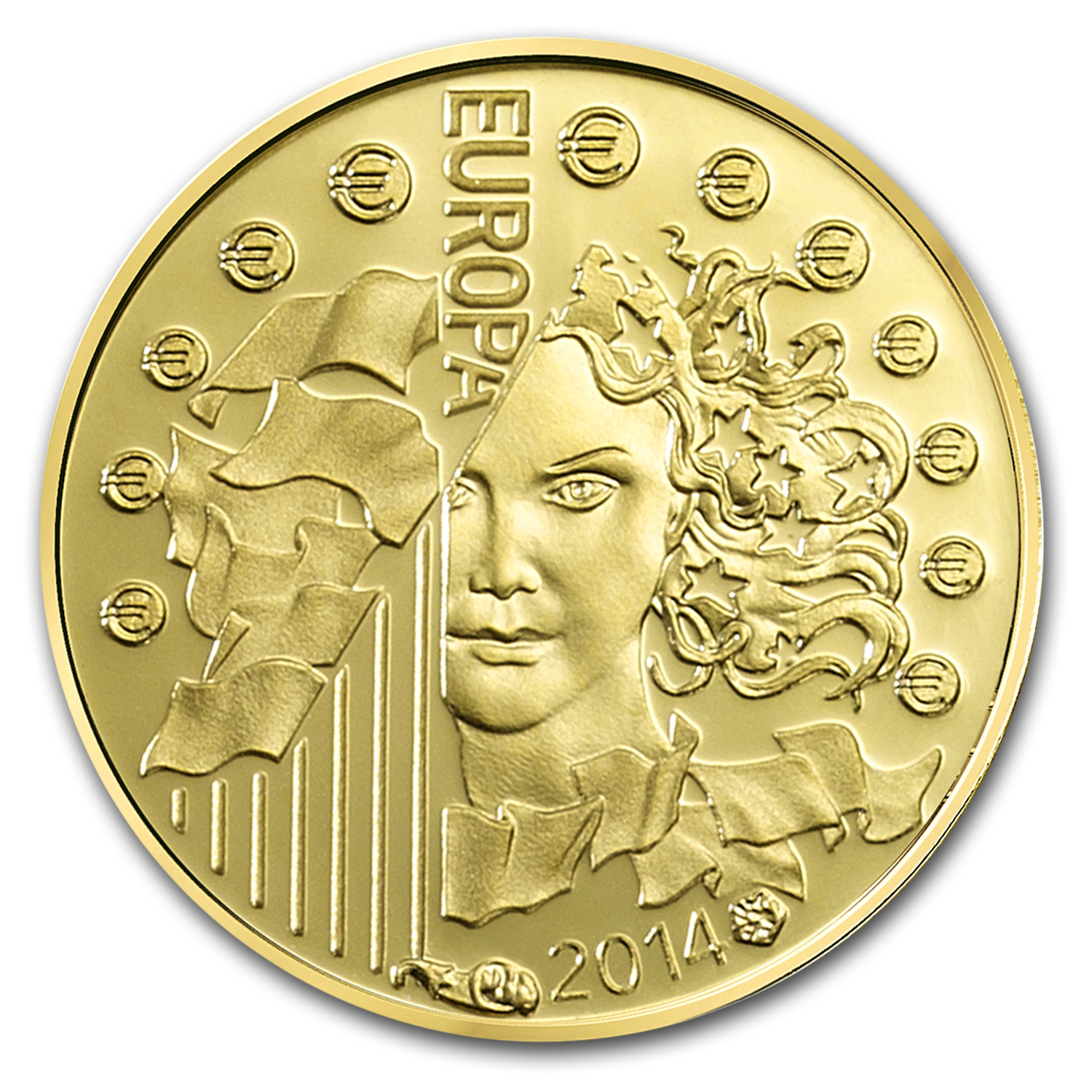 2014 5 oz Proof Gold €500 Europa-European Space Agency