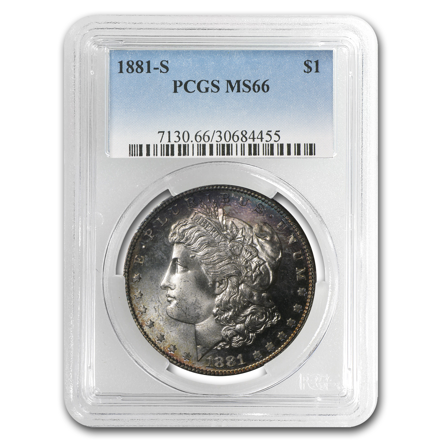 1881-S Morgan Dollar MS-66 PCGS (Plum Bowed Toning)