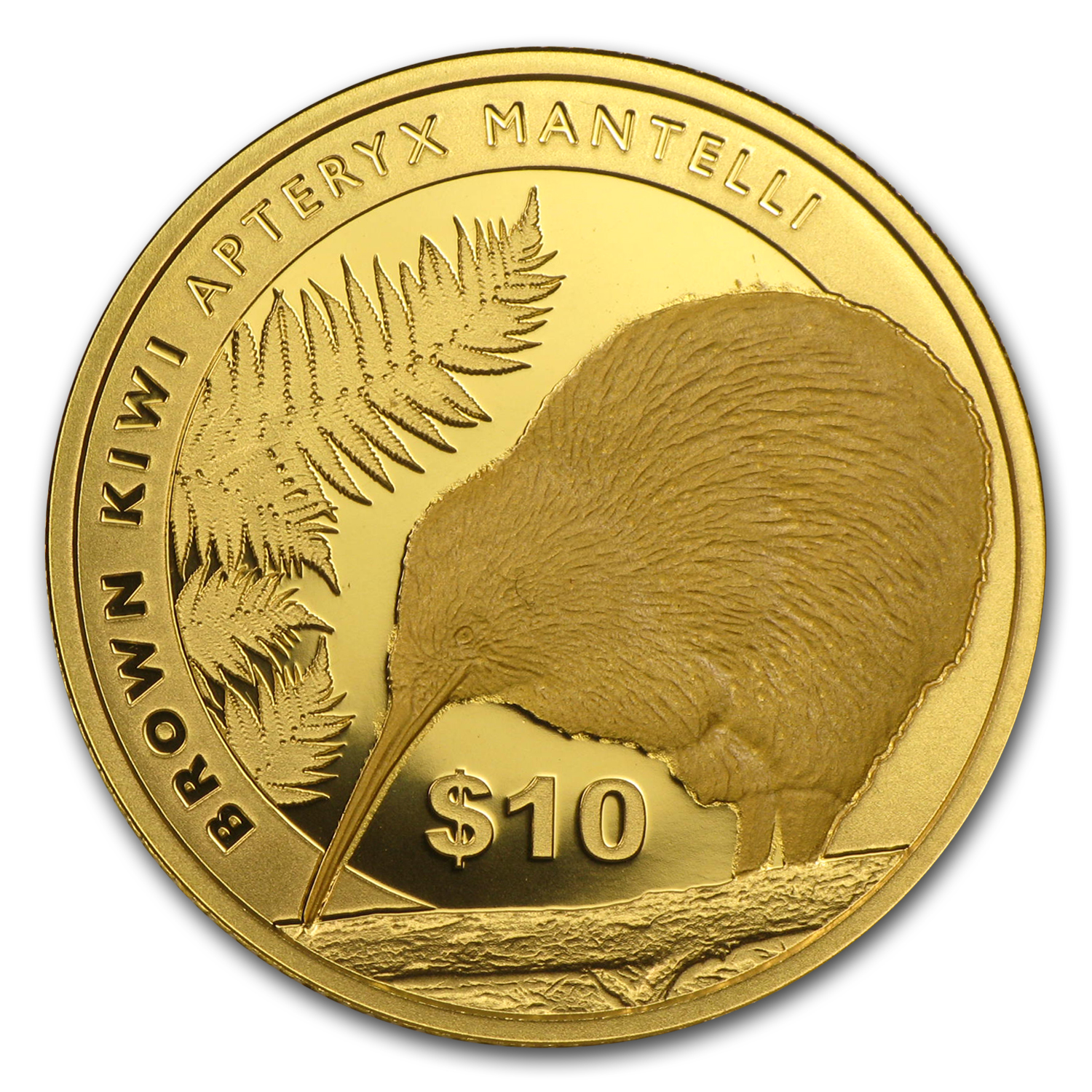 2015 New Zealand 1/4 oz Proof Gold $10 Brown Kiwi