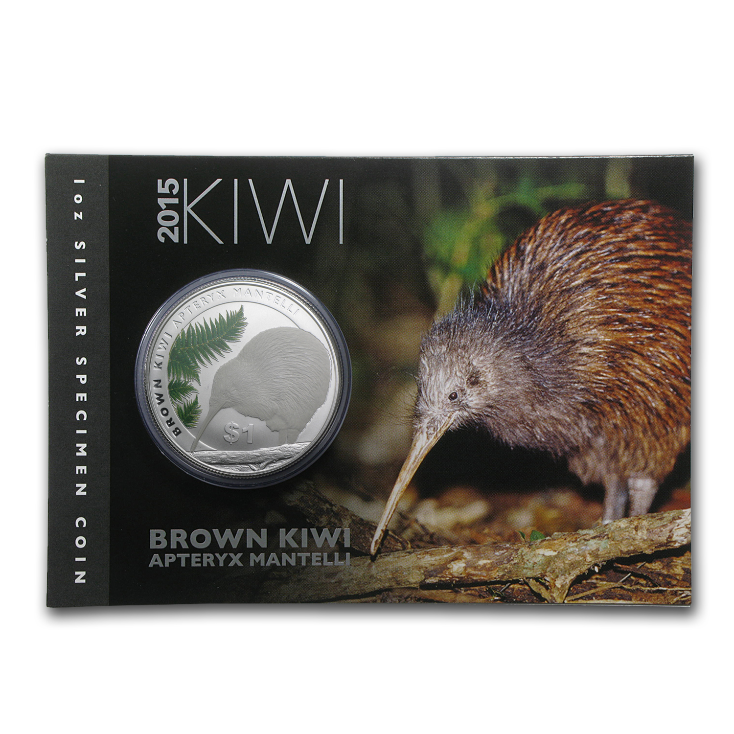 2015 New Zealand 1 oz Silver Treasures $1 Kiwi Specimen