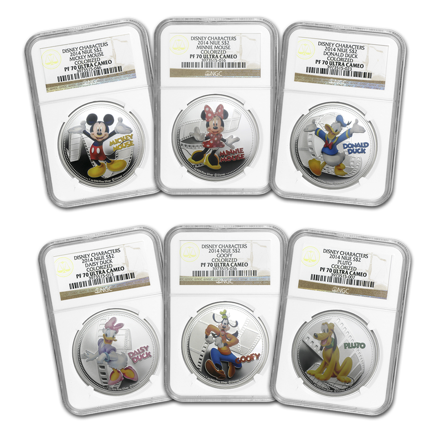 2014 Niue 6-Coin Silver $2 Disney Mickey & Friends Set PF-70 NGC
