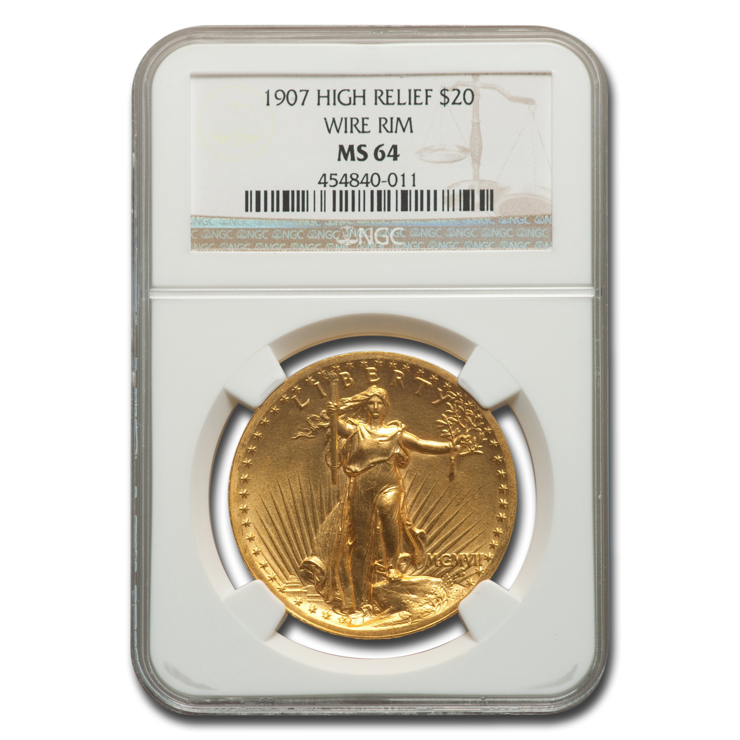 1907 $20 St. Gaudens Gold High Relief Wire Rim MS-64 NGC