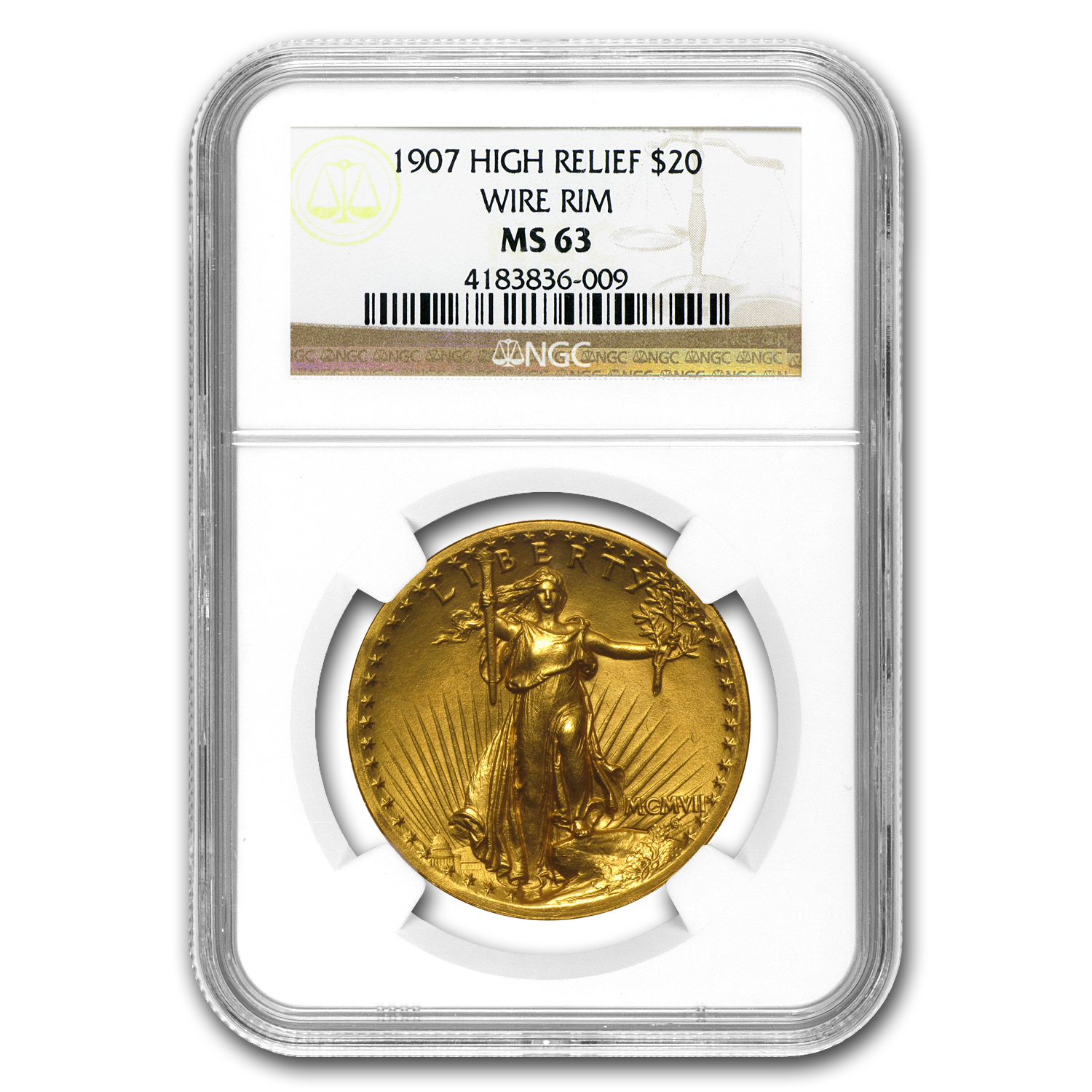 1907 $20 St. Gaudens Gold High Relief Wire Rim MS-63 NGC