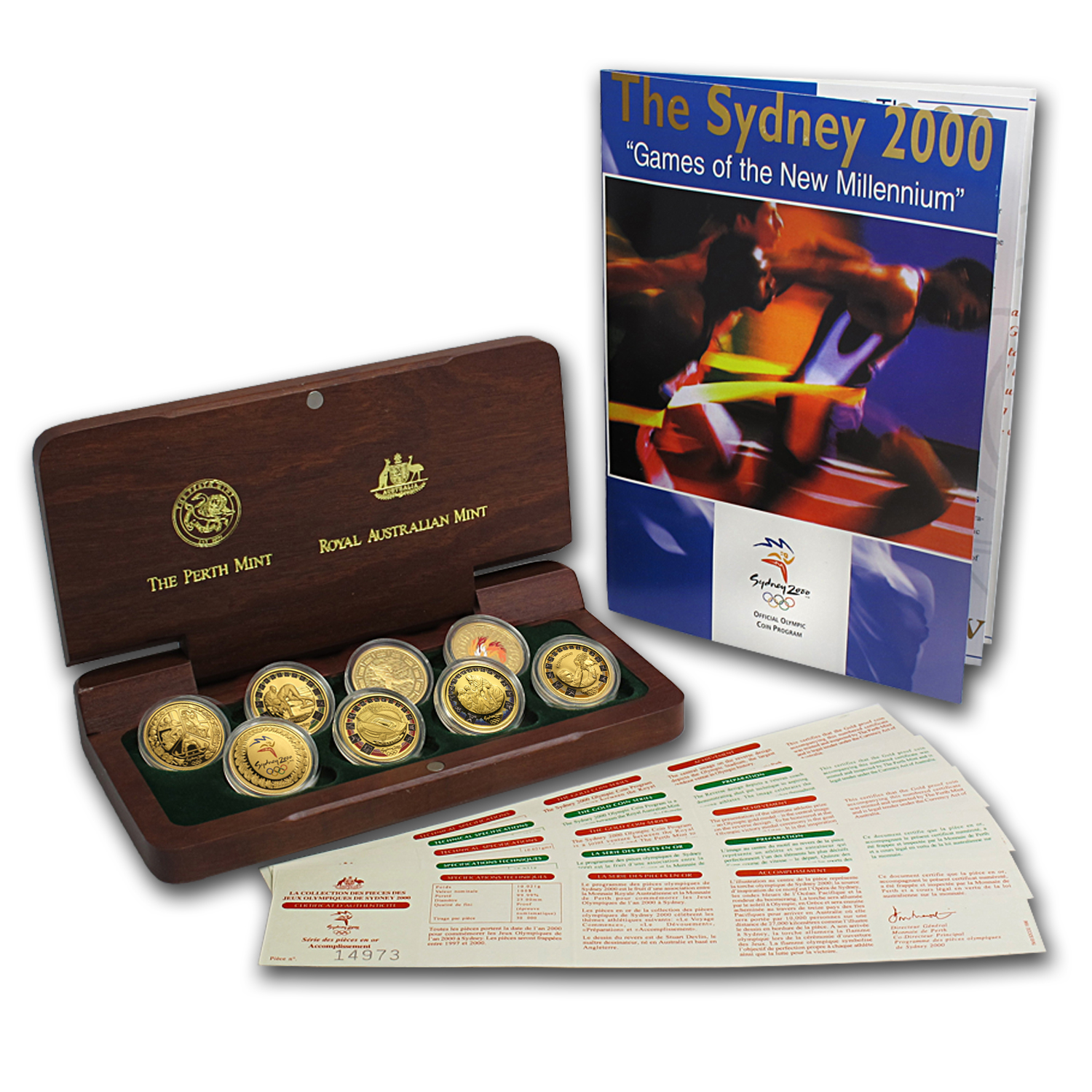 2000 Gold Sydney Olympics Coin Set (w/Wood Box & COA)
