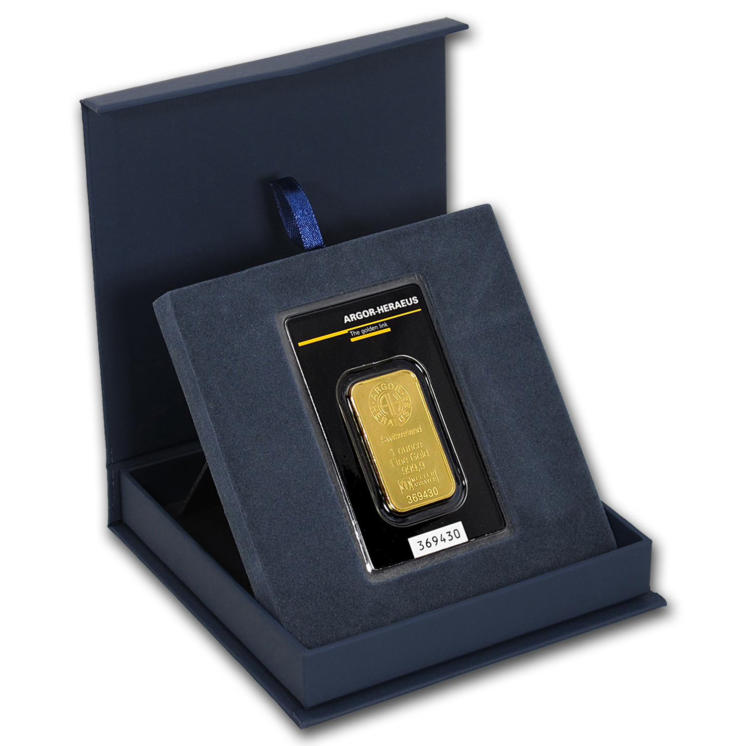 APMEX Gift Box - 1 oz Argor-Heraeus Gold Bar/Round (w/Assay)