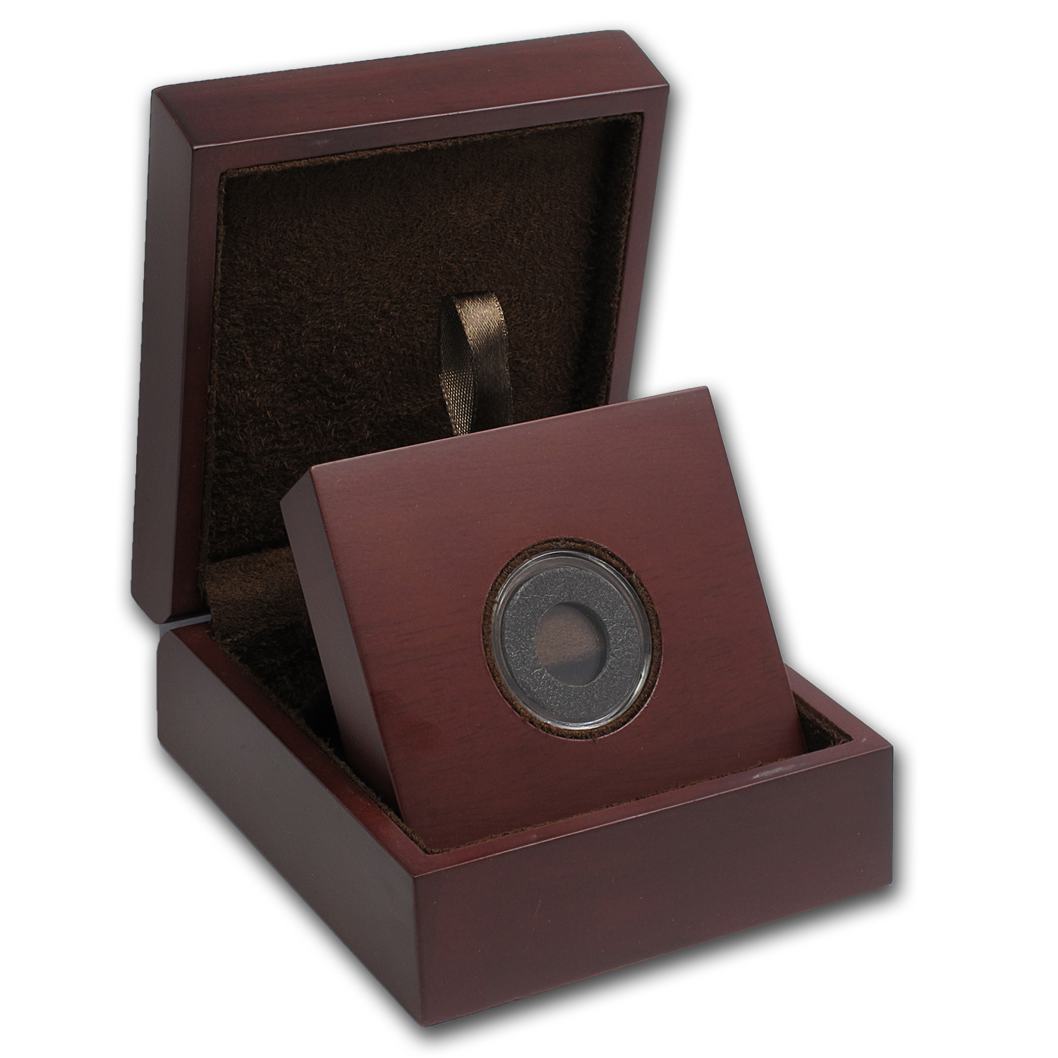 APMEX Wood Gift Box - Includes 14 mm Air-Tite Holder with Gasket