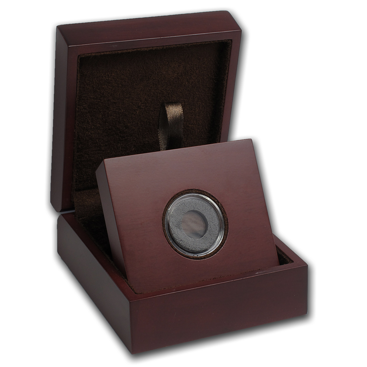 APMEX Wood Gift Box - Includes 15 mm Air-Tite Holder with Gasket
