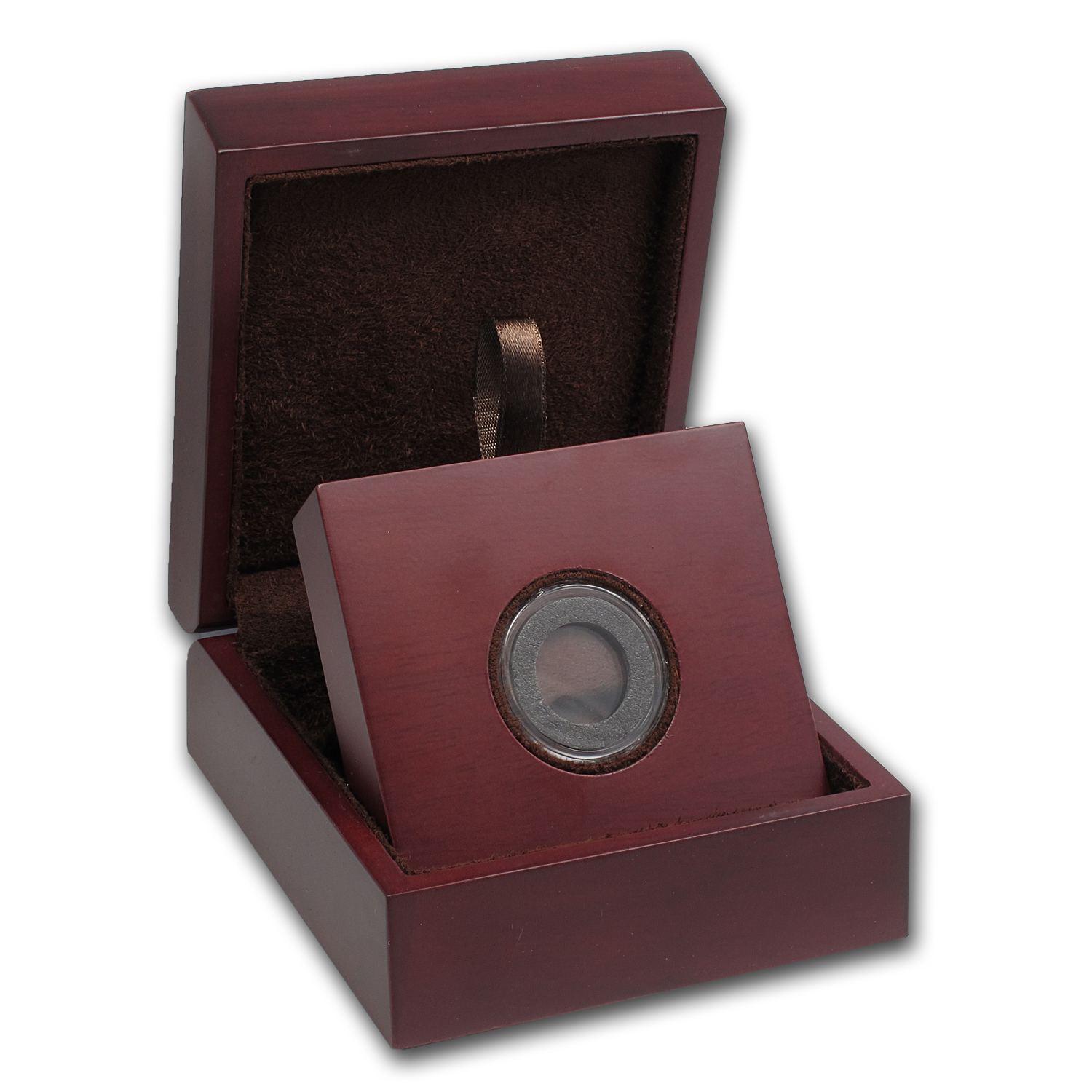APMEX Wood Gift Box - Includes 17 mm Air-Tite Holder with Gasket