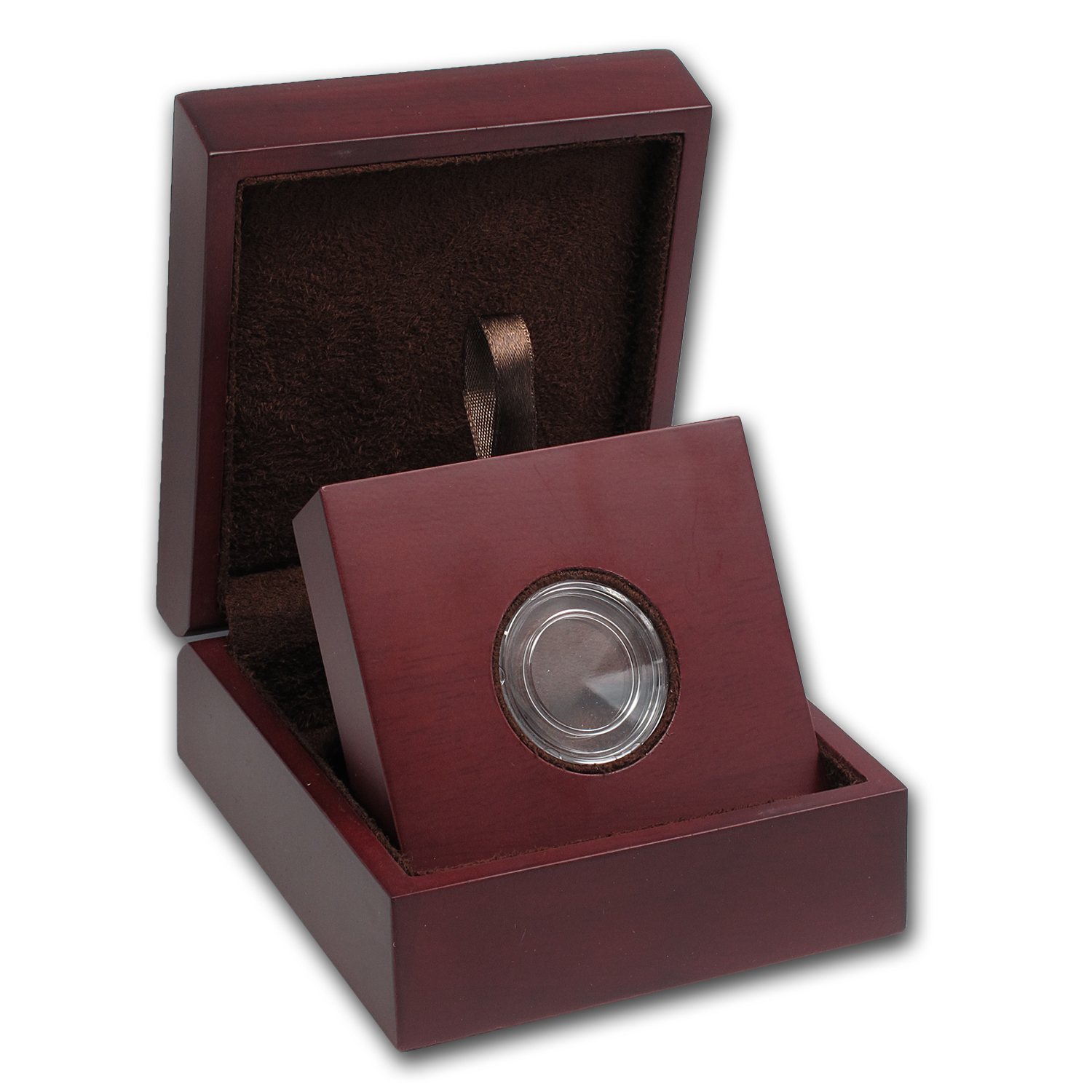 APMEX Wood Gift Box - Includes 19 mm Direct Fit Air-Tite Holder
