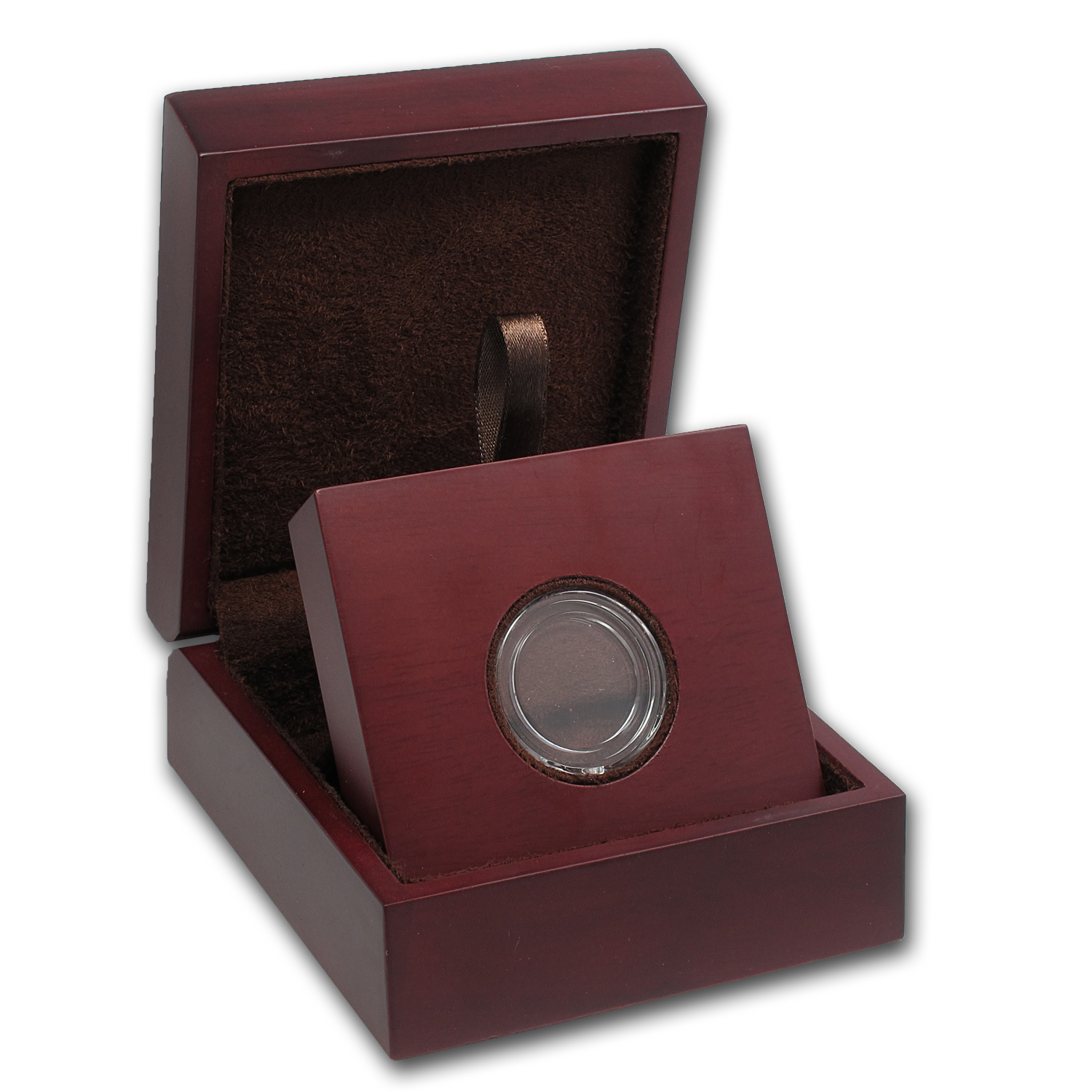 APMEX Wood Gift Box - Includes 21 mm Direct Fit Air-Tite Holder