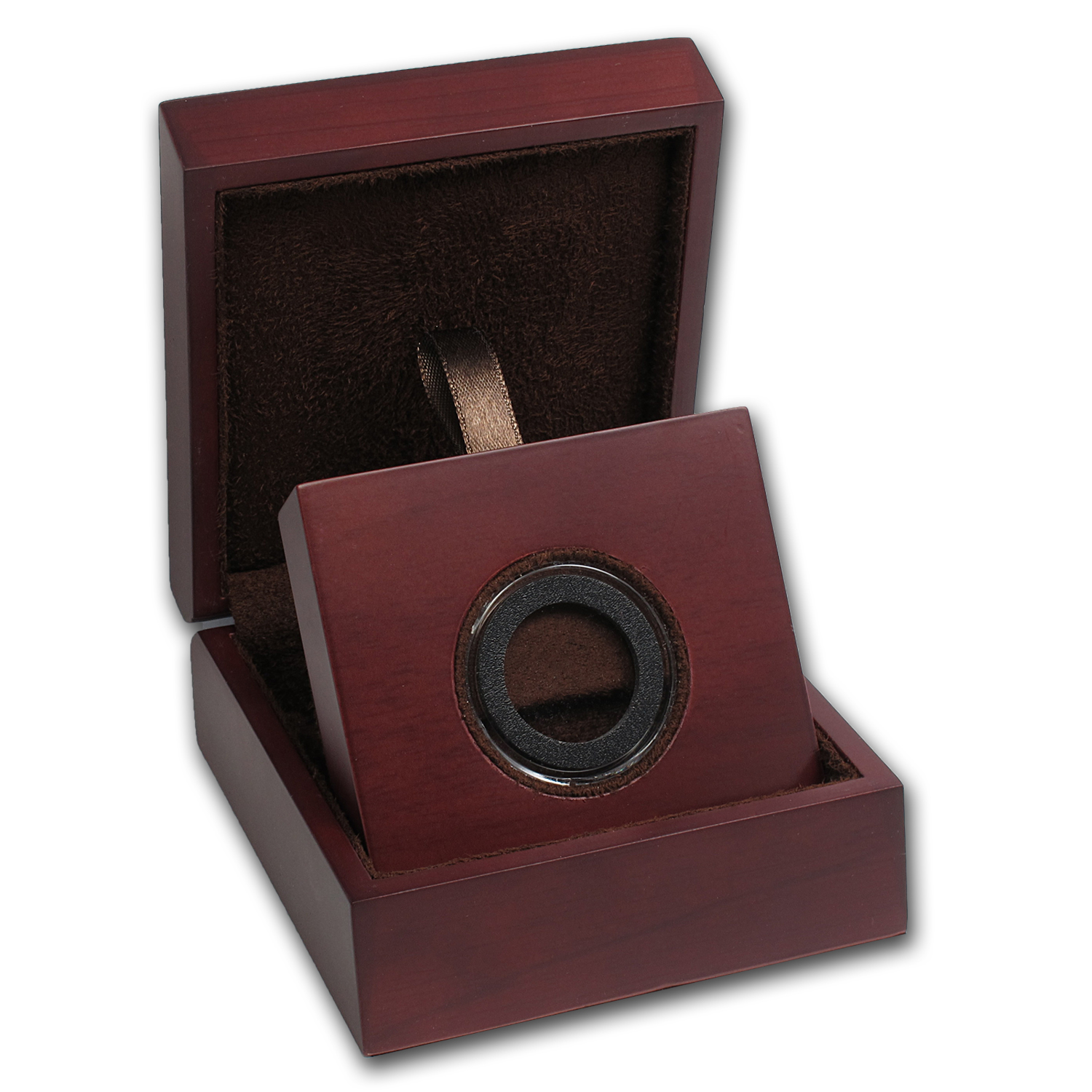APMEX Wood Gift Box - Includes 23 mm Air-Tite Holder with Gasket
