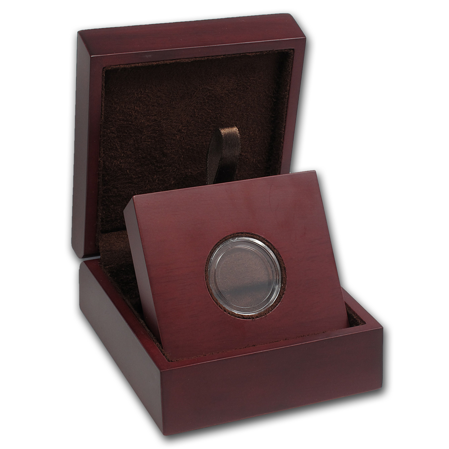 APMEX Wood Gift Box - Includes 24 mm Direct Fit Air-Tite Holder