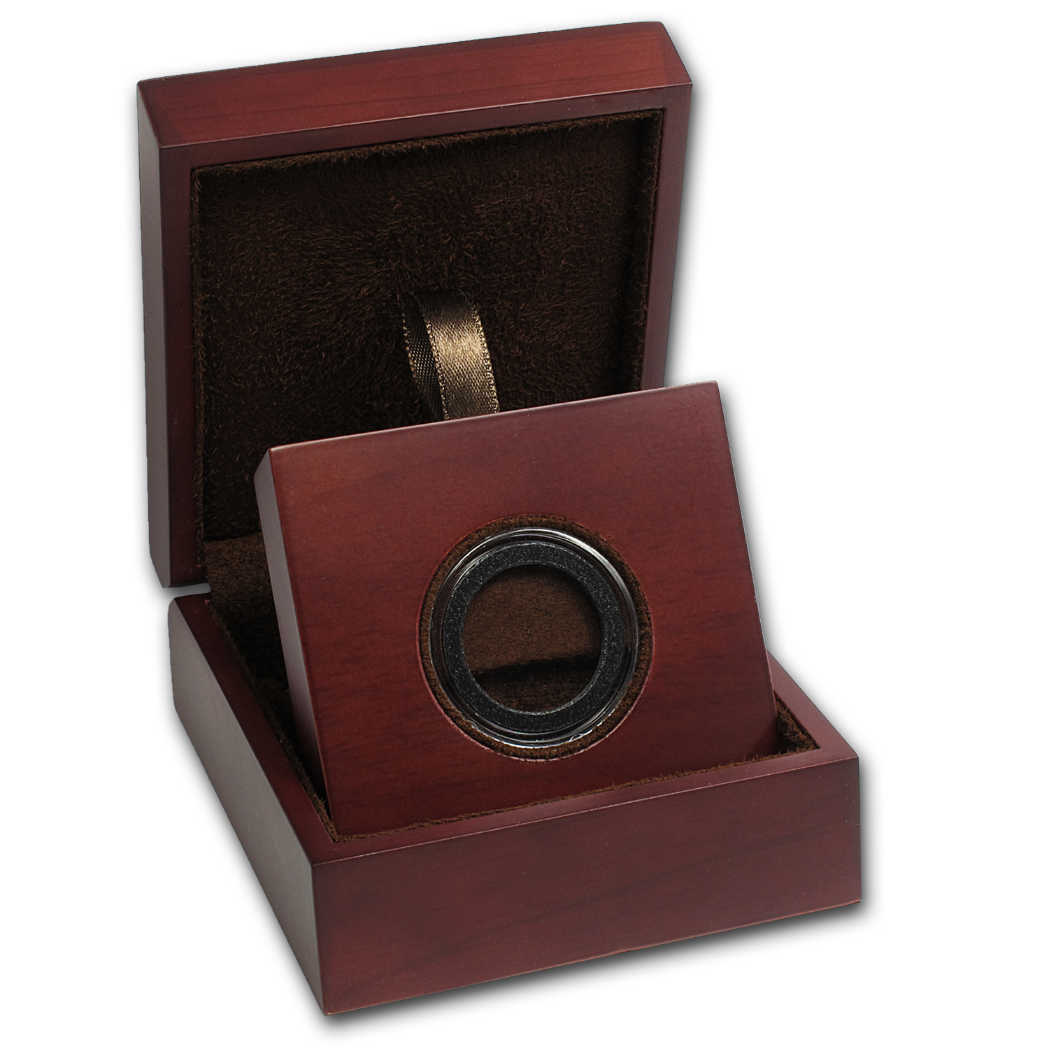 APMEX Wood Gift Box - Includes 25 mm Air-Tite Holder with Gasket