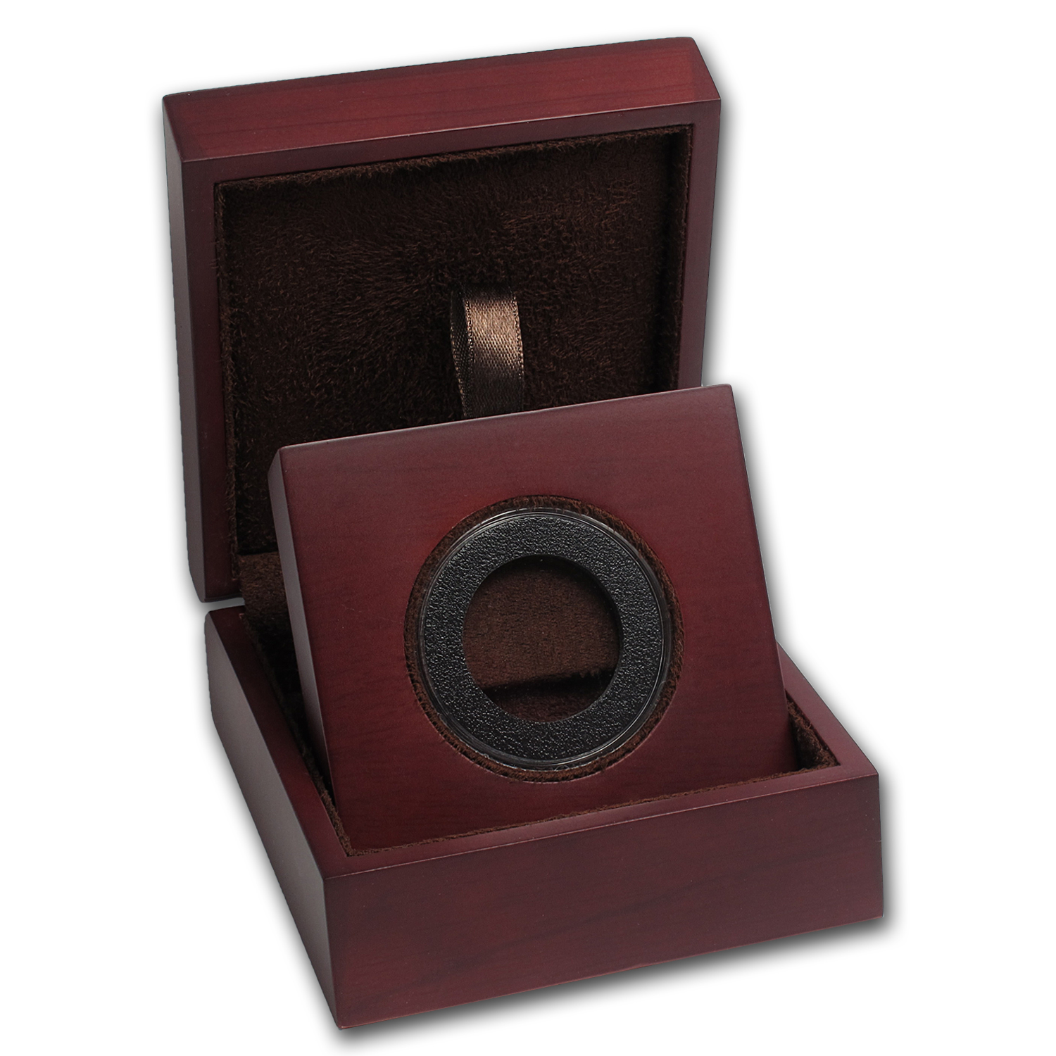APMEX Wood Gift Box - Includes 28 mm Air-Tite Holder with Gasket