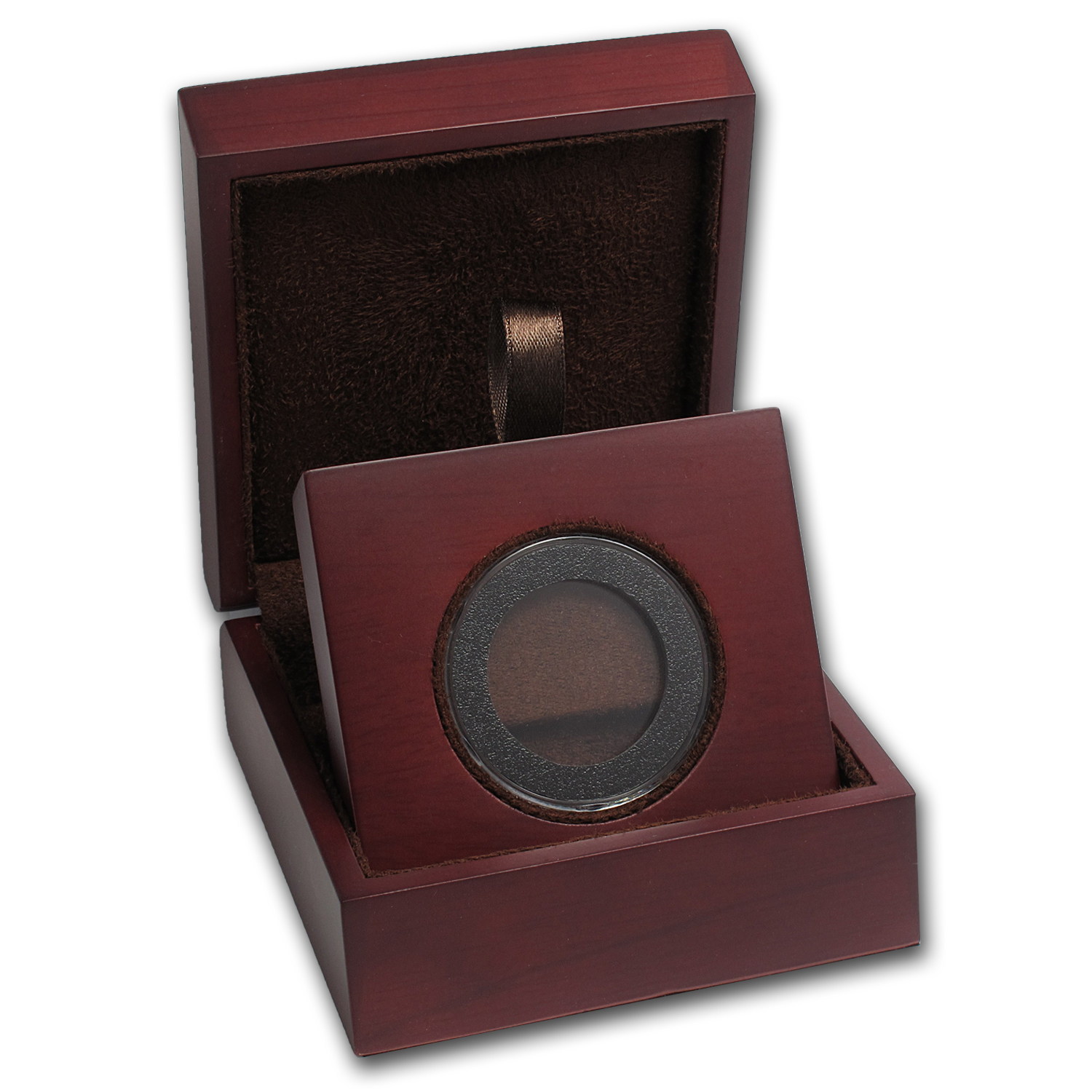 APMEX Wood Gift Box - Includes 30 mm Air-Tite Holder with Gasket