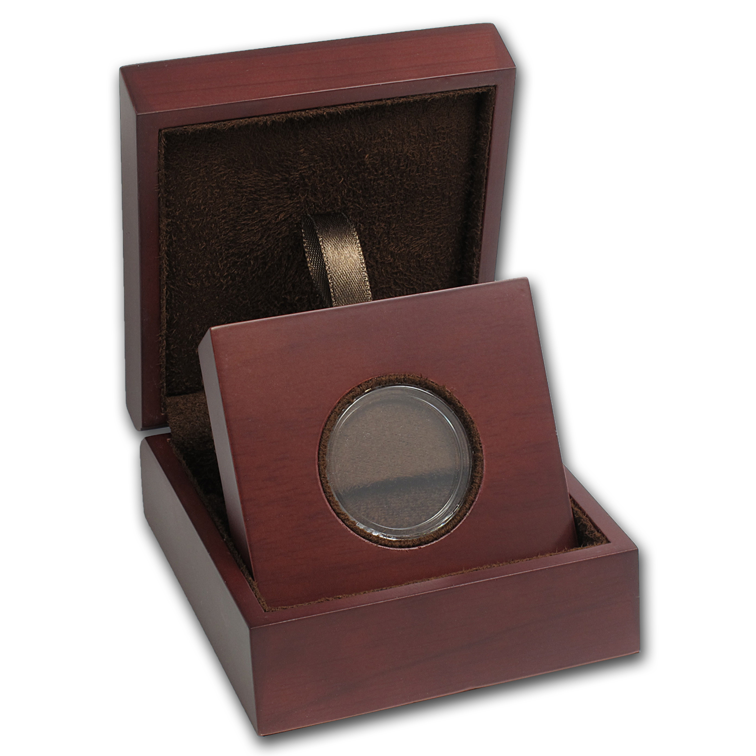 APMEX Wood Gift Box - Includes 30.6 mm Direct Fit Air-Tite Holder