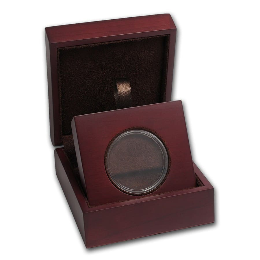 APMEX Wood Gift Box - Includes 39 mm Direct Fit Air-Tite Holder