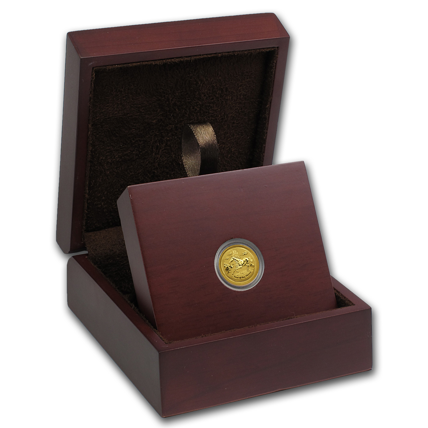 APMEX Wood Gift Box - 1/20 oz Perth Mint Gold Coin