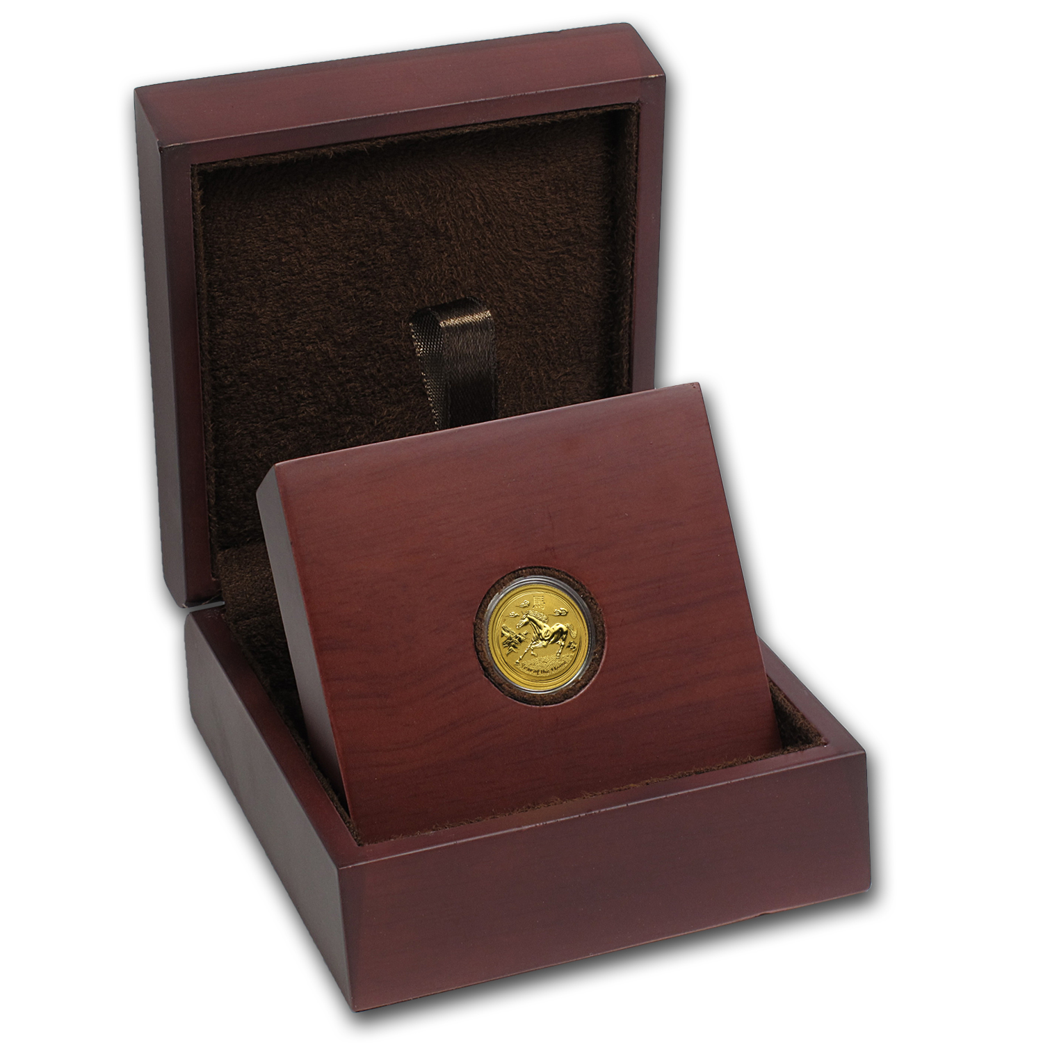 APMEX Wood Gift Box - 1/10 oz Perth Mint Gold Coin Series 2