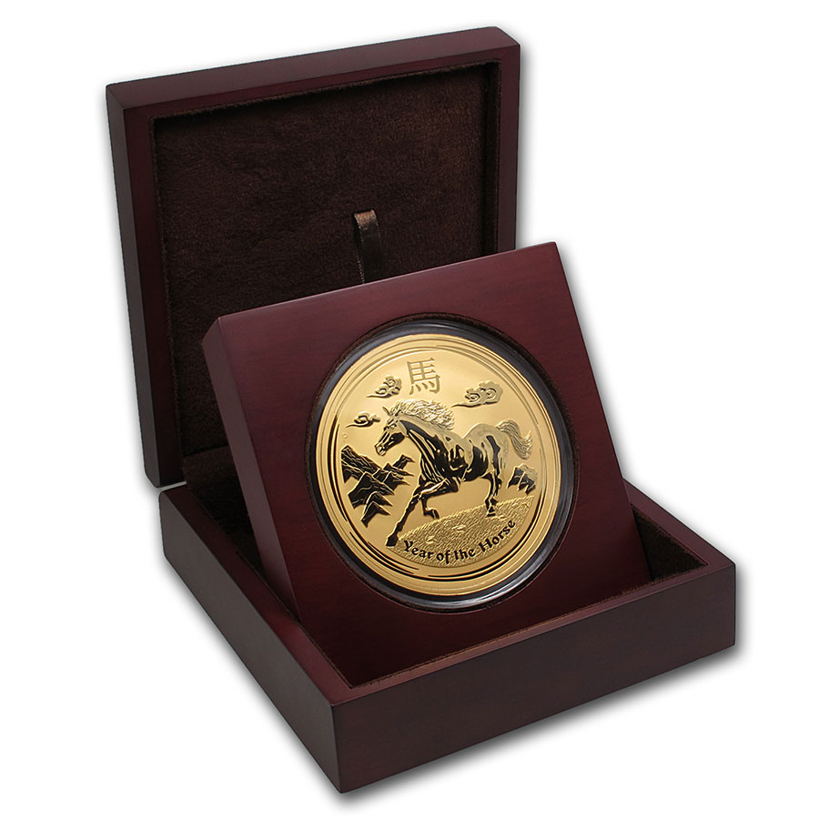 APMEX Wood Gift Box - 1 kilo Perth Mint Gold Coin