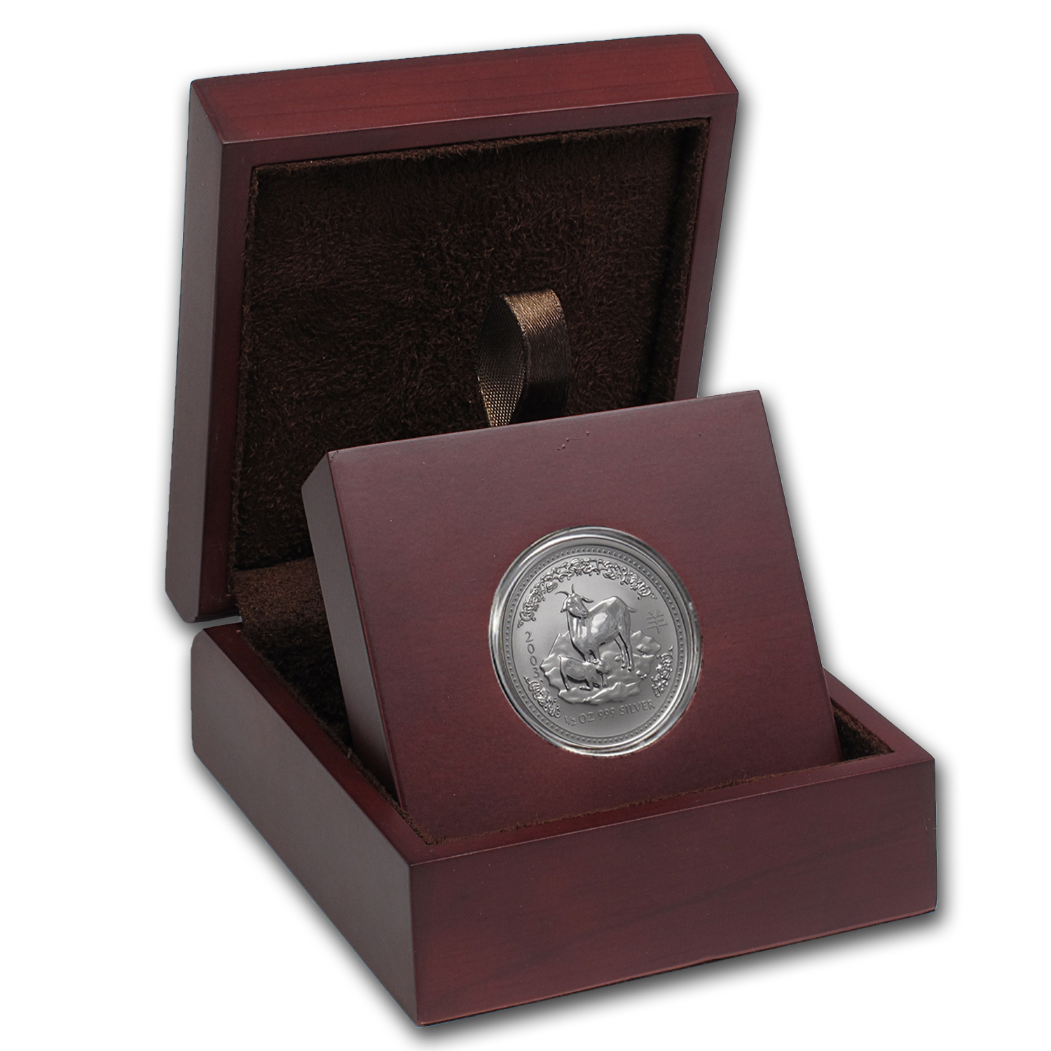 APMEX Wood Gift Box - 1/2 oz Perth Mint Silver Coin Series 1
