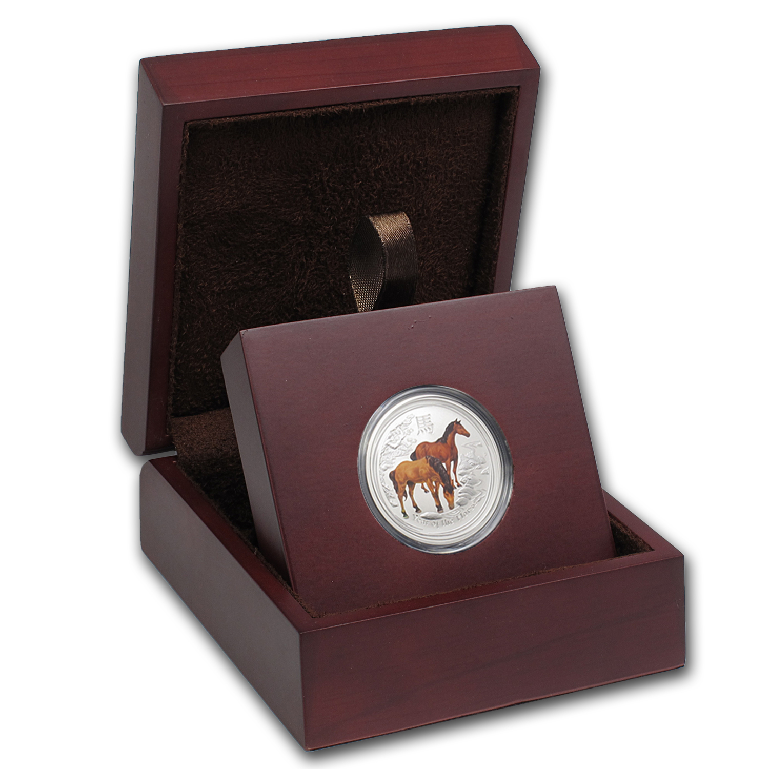 APMEX Wood Gift Box - 1/2 oz Perth Mint Silver Coin Series 2