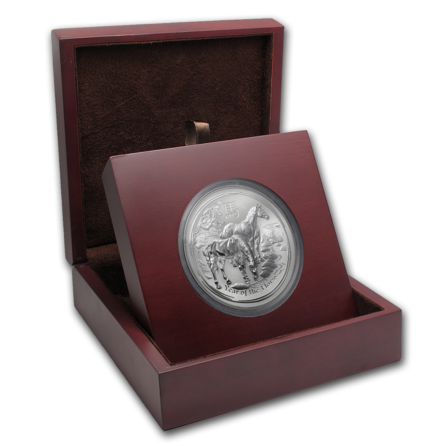 APMEX Wood Gift Box - 10 oz Perth Mint Silver Coin Series 2