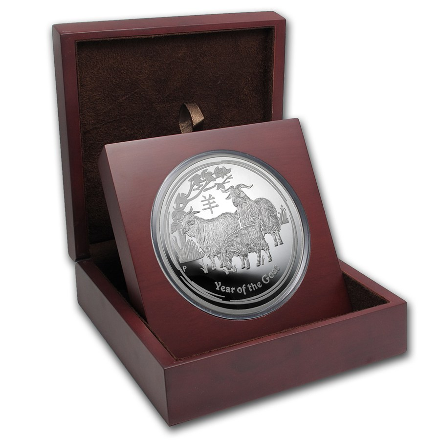 Apmex Wood Gift Box 1 Kilo Perth Mint Silver Coin