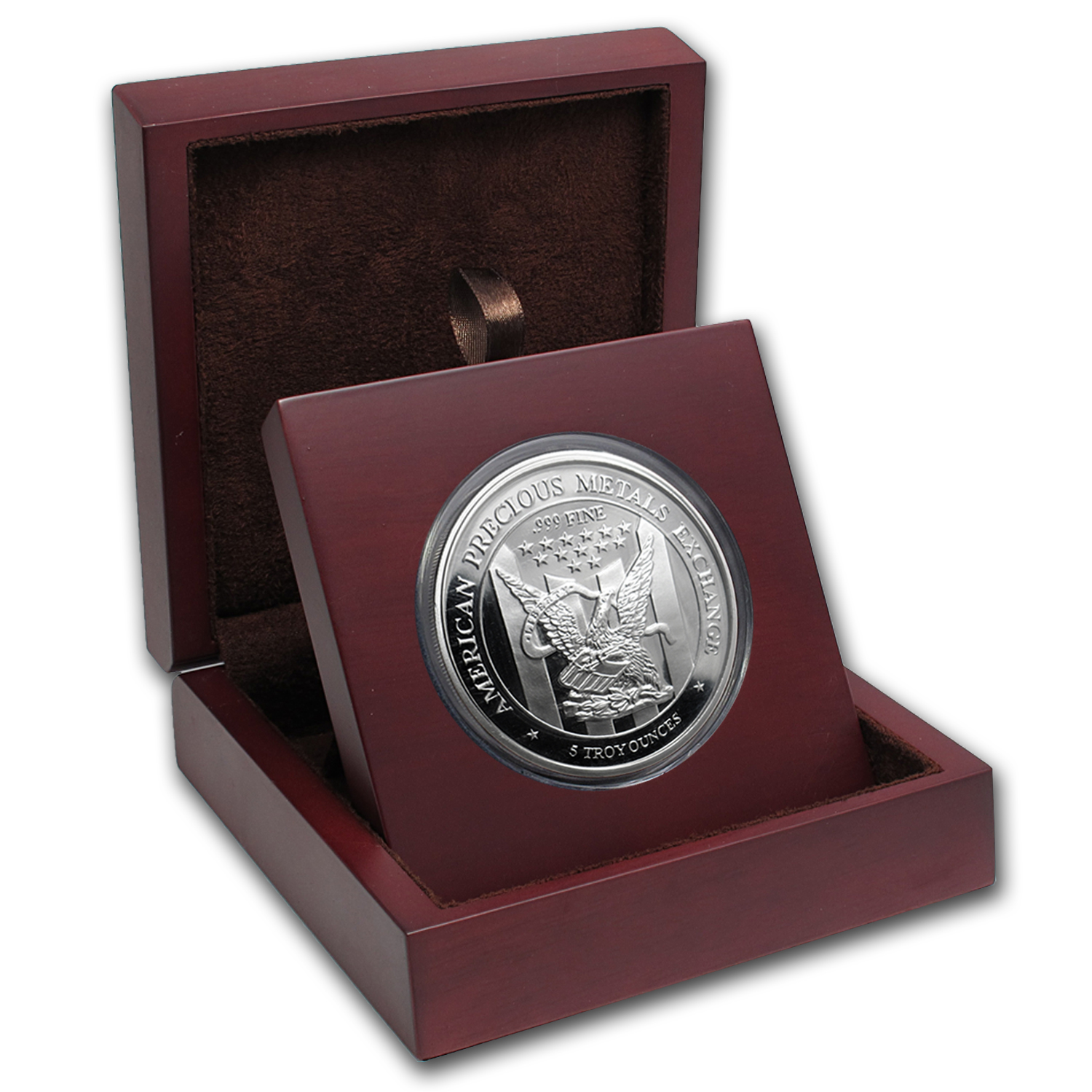 APMEX Wood Gift Box - 5 oz Silver Round APMEX (63.5 mm)