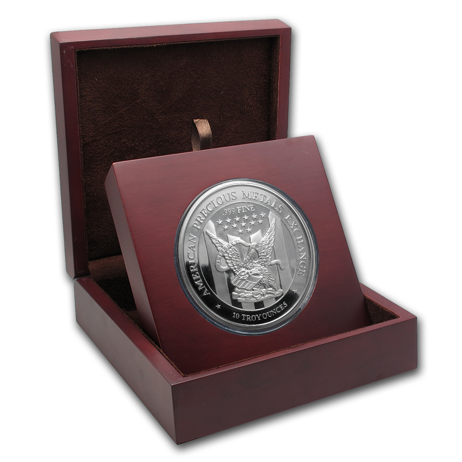 APMEX Wood Gift Box - 10 oz Silver Round APMEX (88.6 mm)
