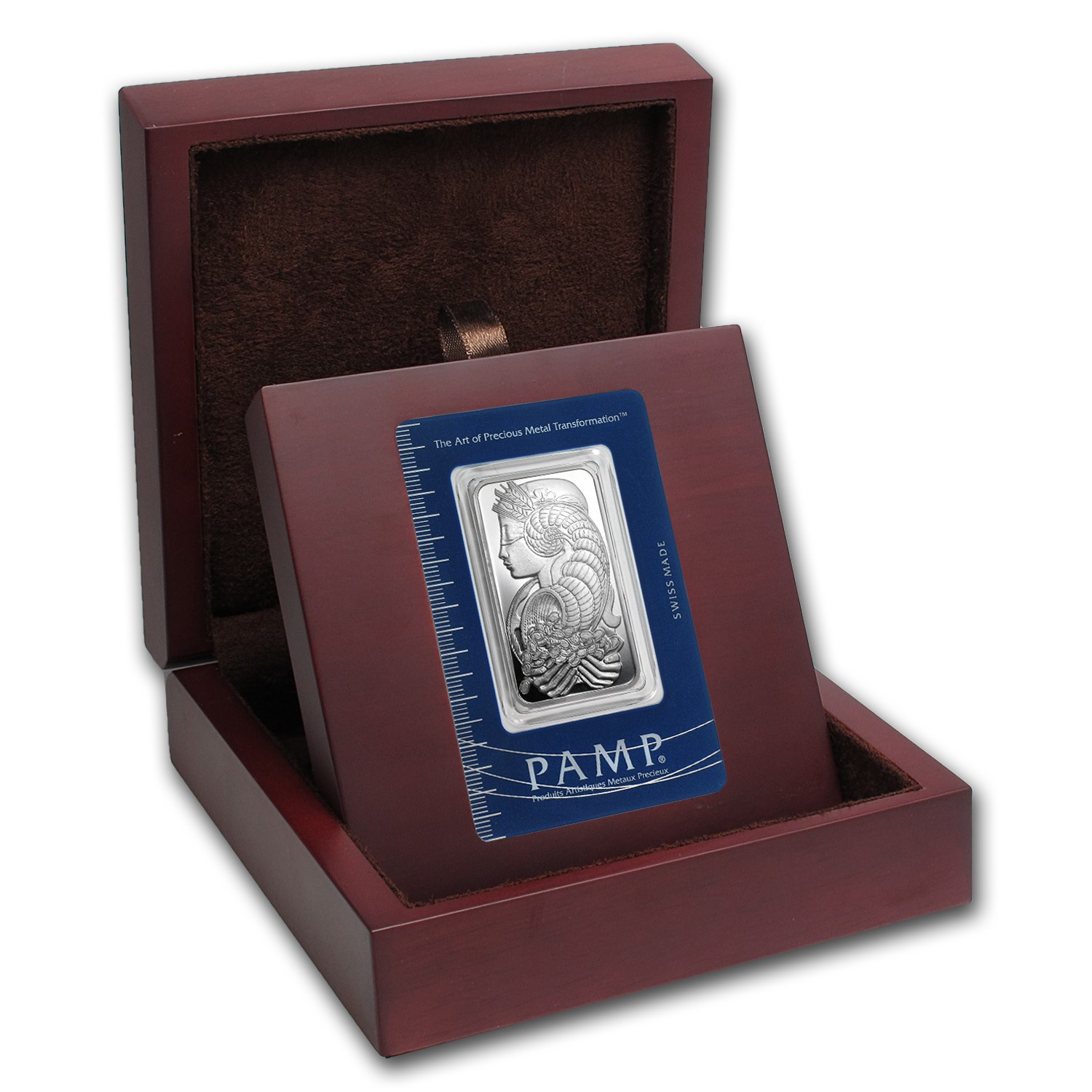 APMEX Wood Gift Box - 1 oz PAMP Suisse Silver Bar (w/Assay)