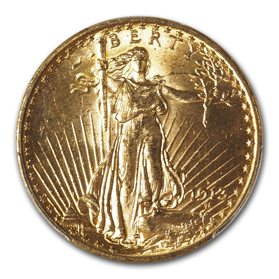 1913-D $20 St. Gaudens Gold Double Eagle - MS-62 PCGS