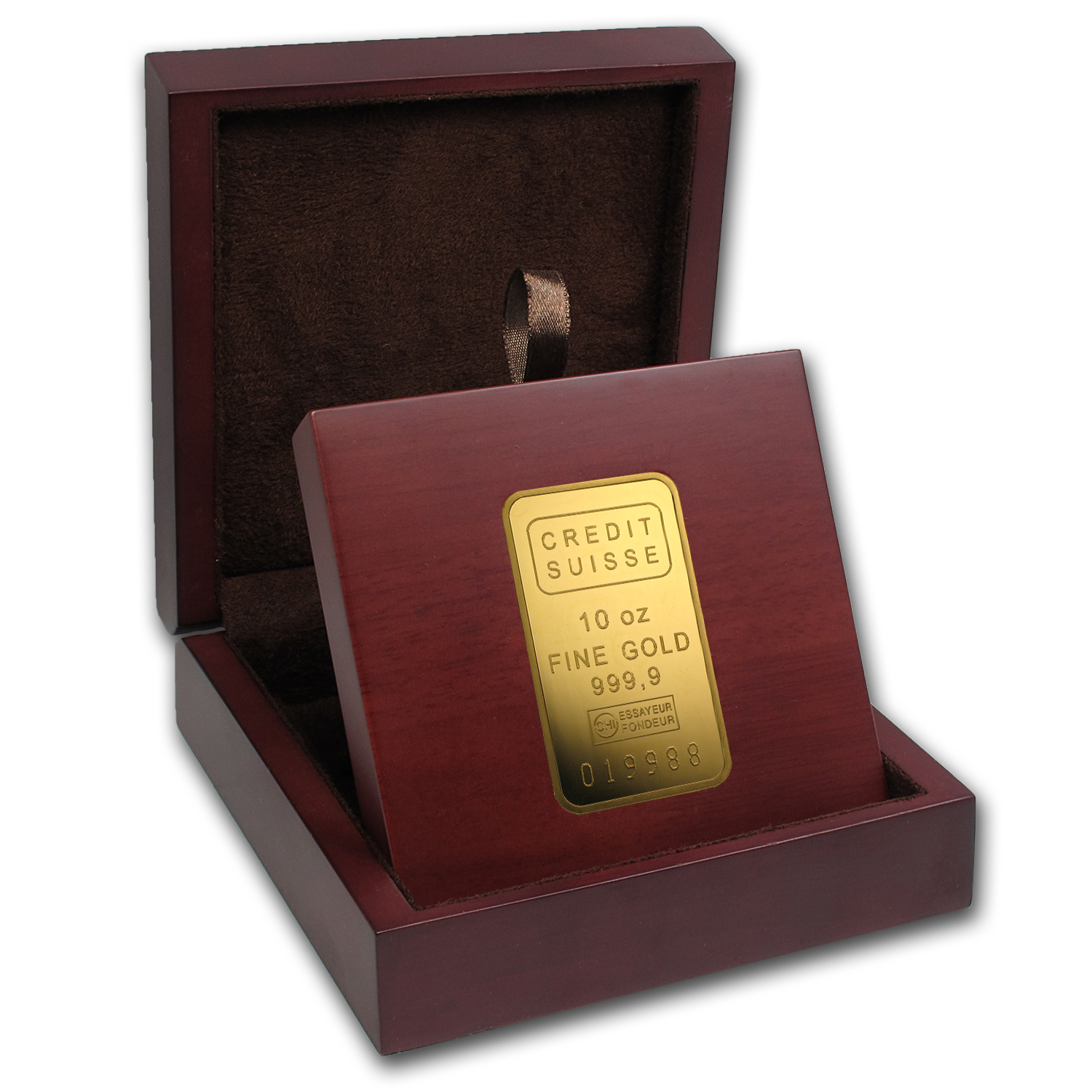 APMEX Wood Gift Box - 10 oz Credit Suisse Gold Bar (w/Assay)