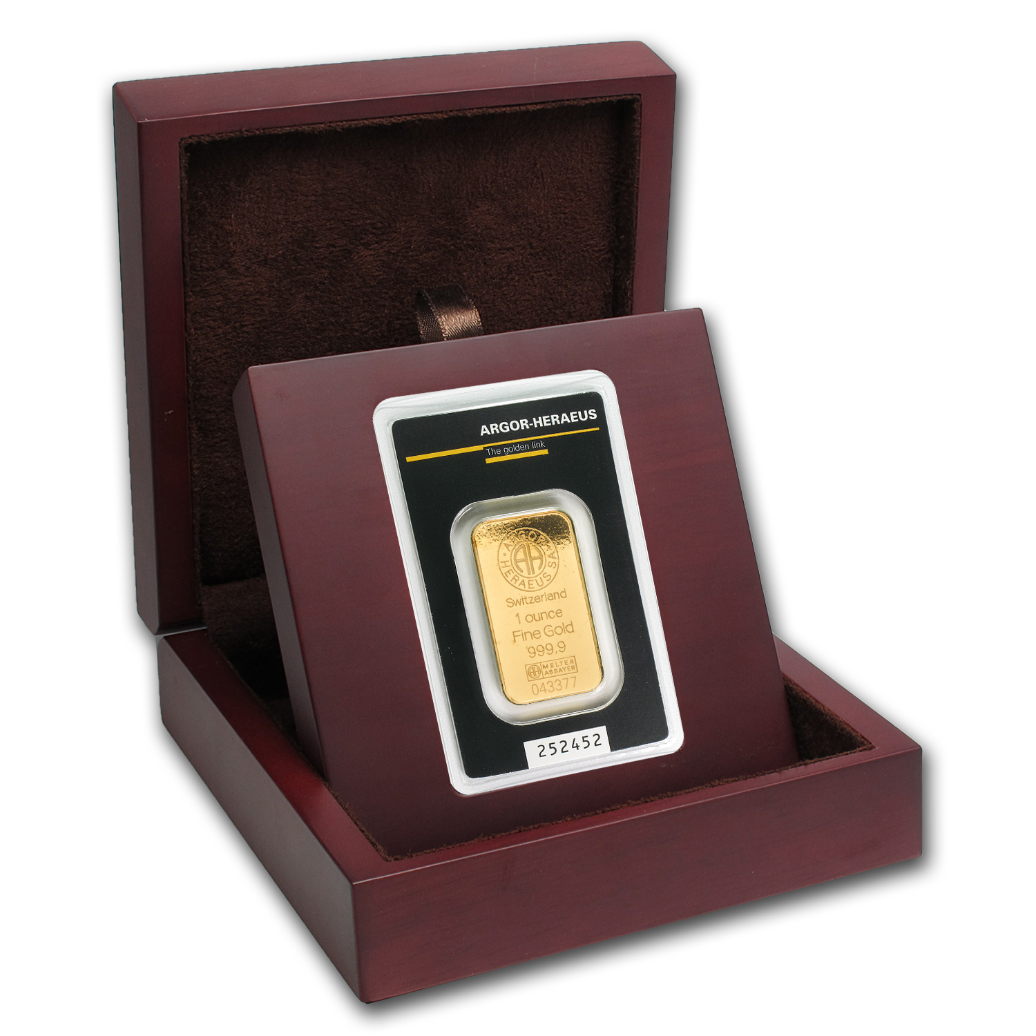 APMEX Wood Gift Box - Heraeus Gold Bar/Round (w/Assay)