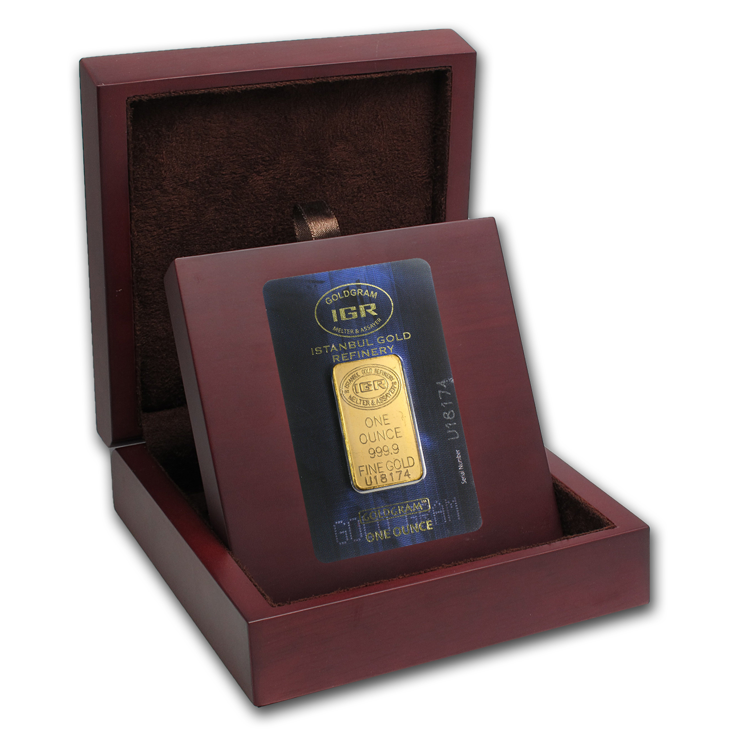 APMEX Wood Gift Box - IGR Gold Bar (w/Assay)